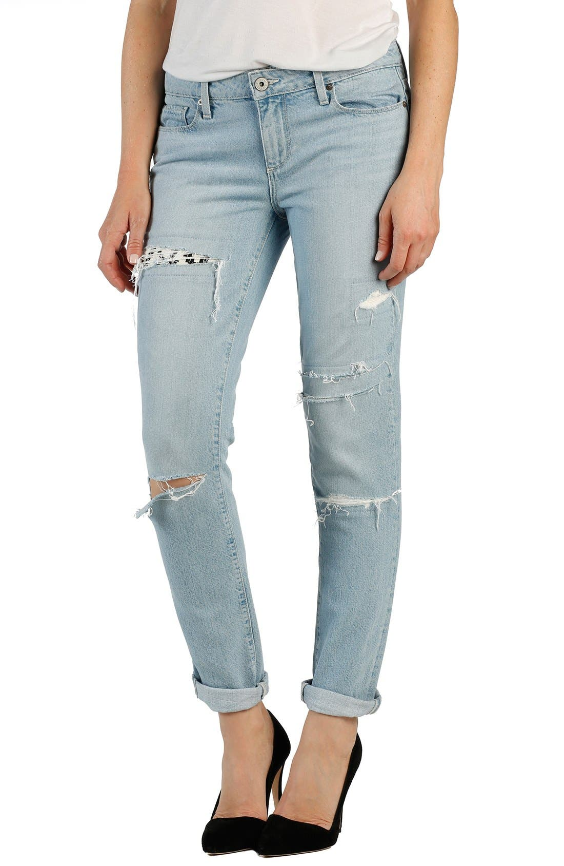 Main Image - Paige Denim 'Jimmy Jimmy' Ripped & Repaired Boyfriend Jeans (Mayan Patch)