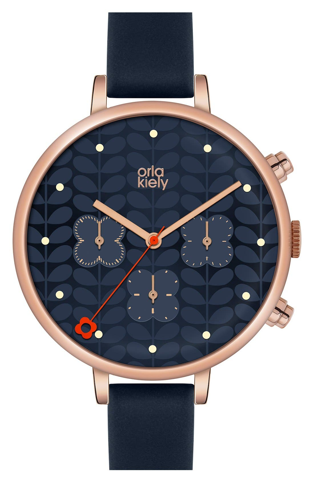 Alternate Image 1 Selected - Orla Kiely 'Ivy' Chronograph Leather Strap Watch, 40mm