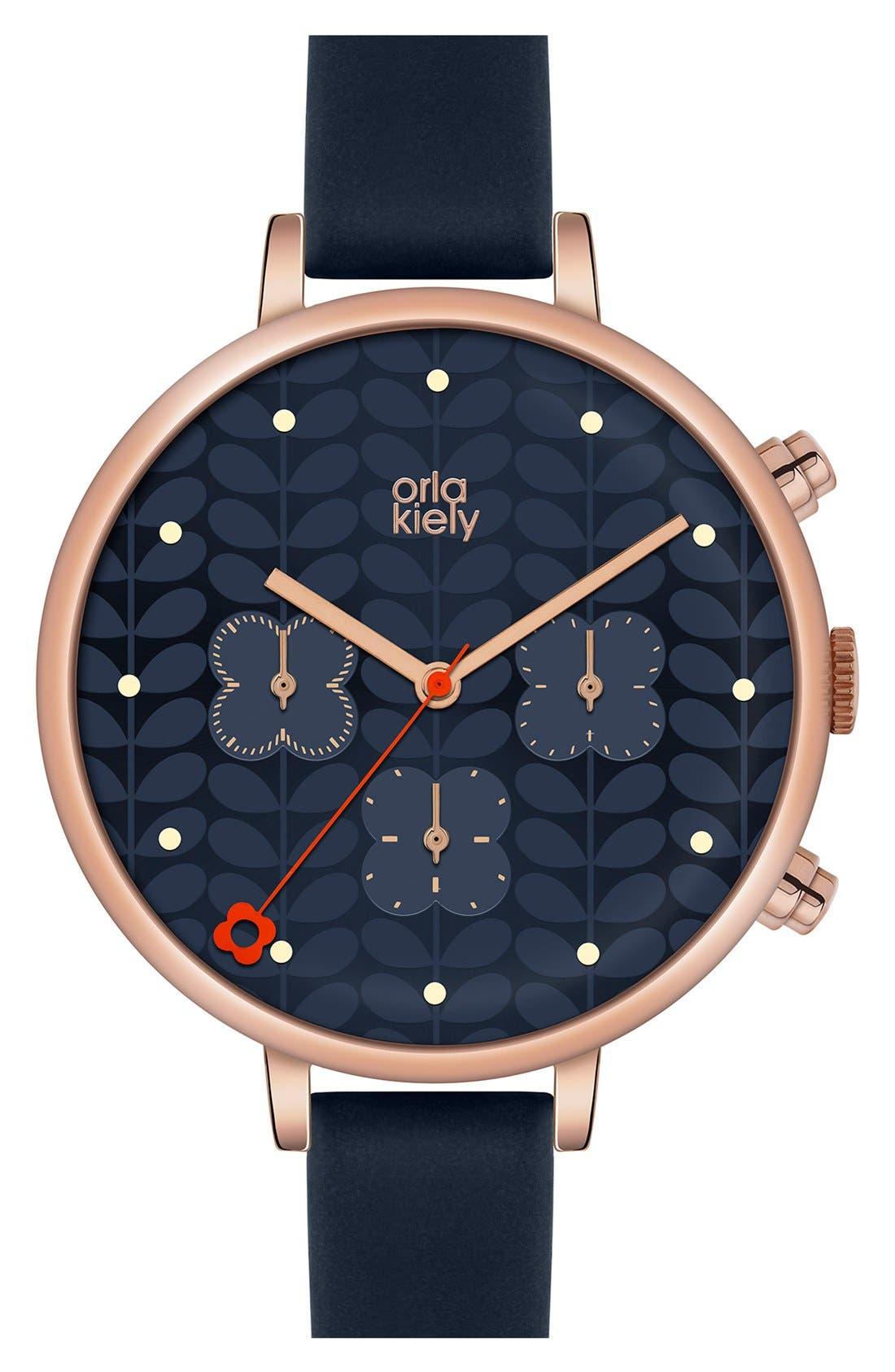 Main Image - Orla Kiely 'Ivy' Chronograph Leather Strap Watch, 40mm