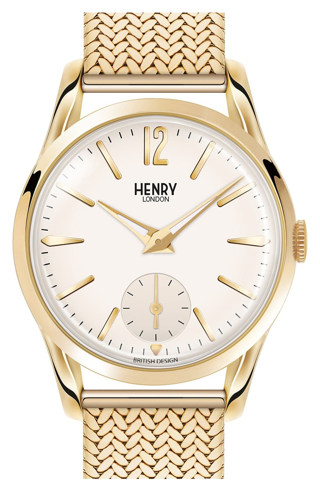 'Westminster' Mesh Strap Watch, 30mm,                         Main,                         color, Gold/ White
