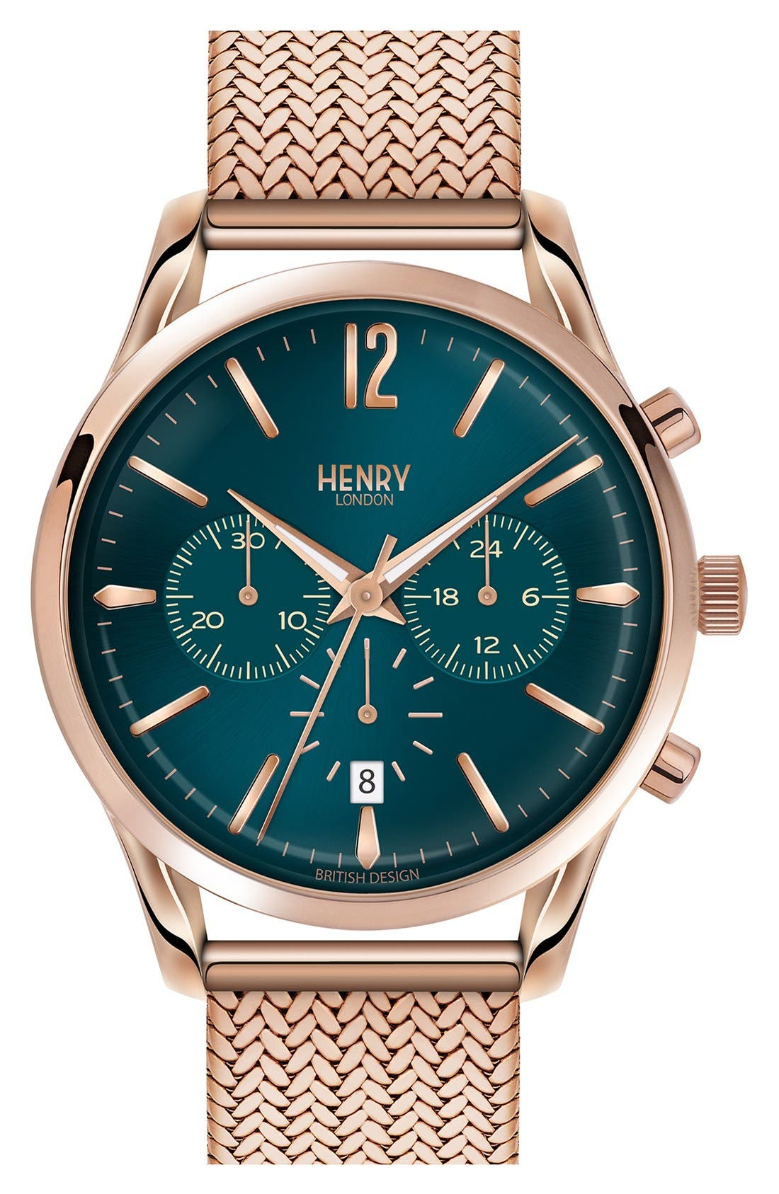 Henry London 'Stratford' Chronograph Mesh Strap Watch, 38mm