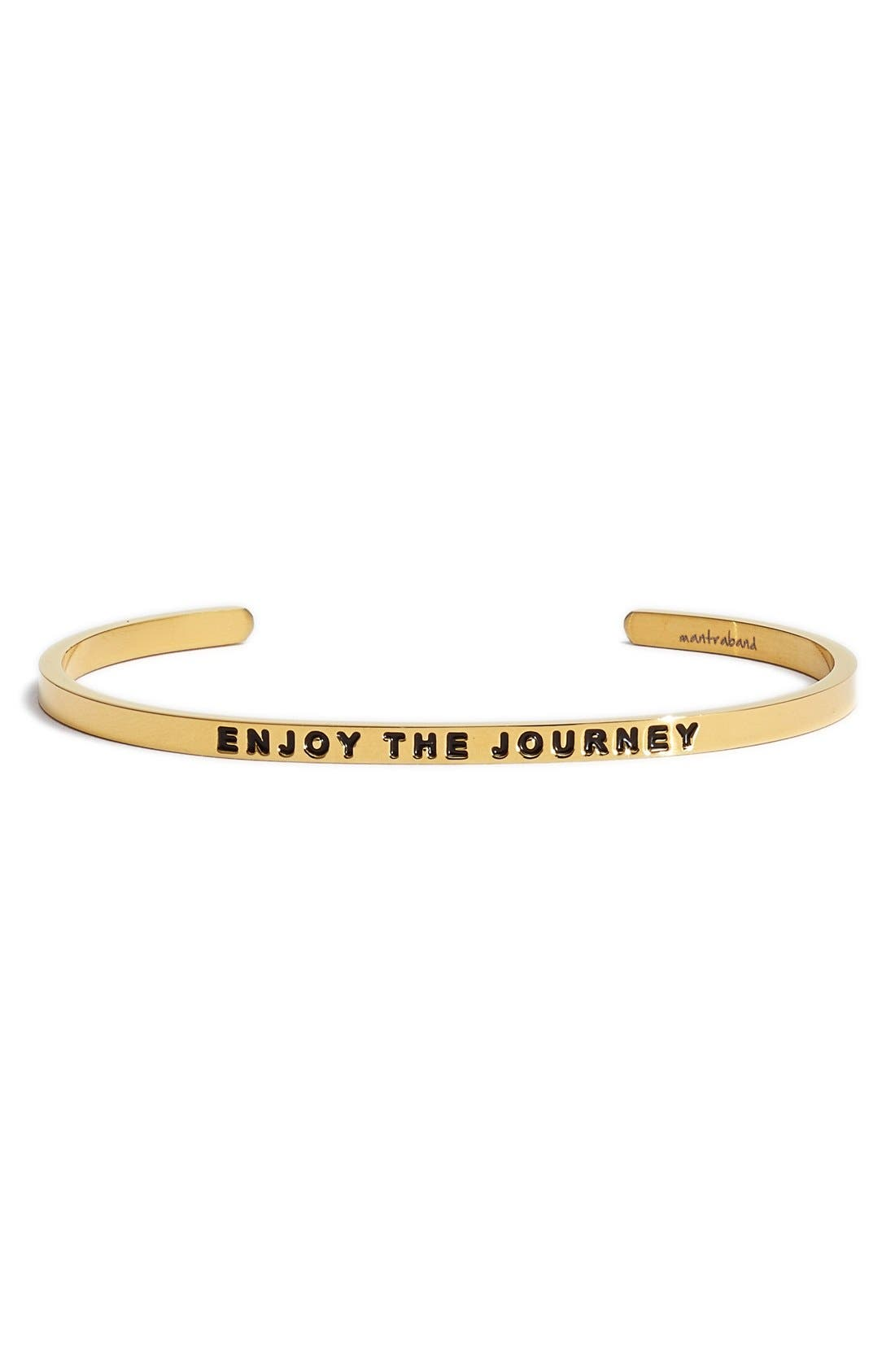 'Enjoy the Journey' Cuff,                             Main thumbnail 1, color,                             Gold