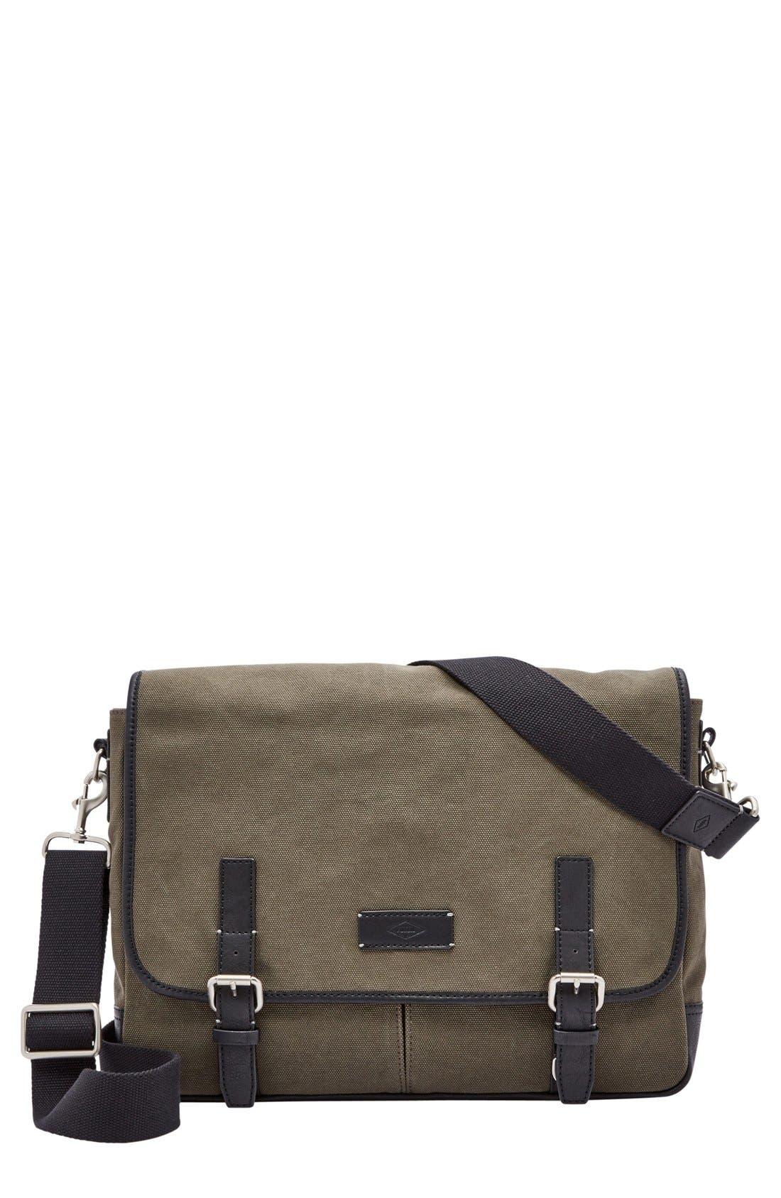 'Graham' Canvas Messenger Bag,                             Main thumbnail 1, color,                             Olive