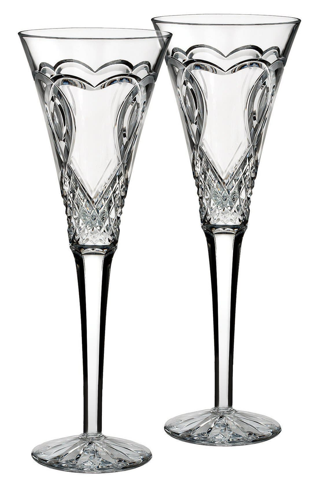 'Wedding' Lead Crystal Toasting Flutes,                             Main thumbnail 1, color,                             Clear