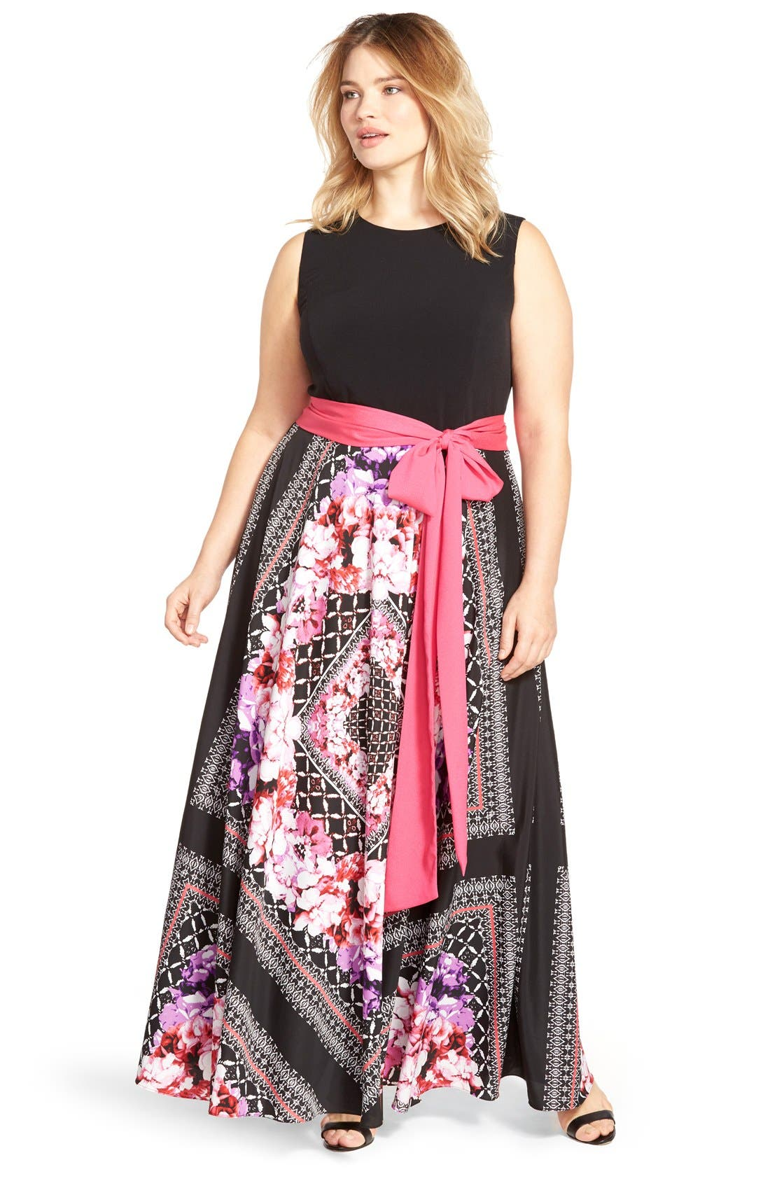 Alternate Image 6  - Eliza J Scarf Print Jersey & Crêpe de Chine Maxi Dress (Plus Size)