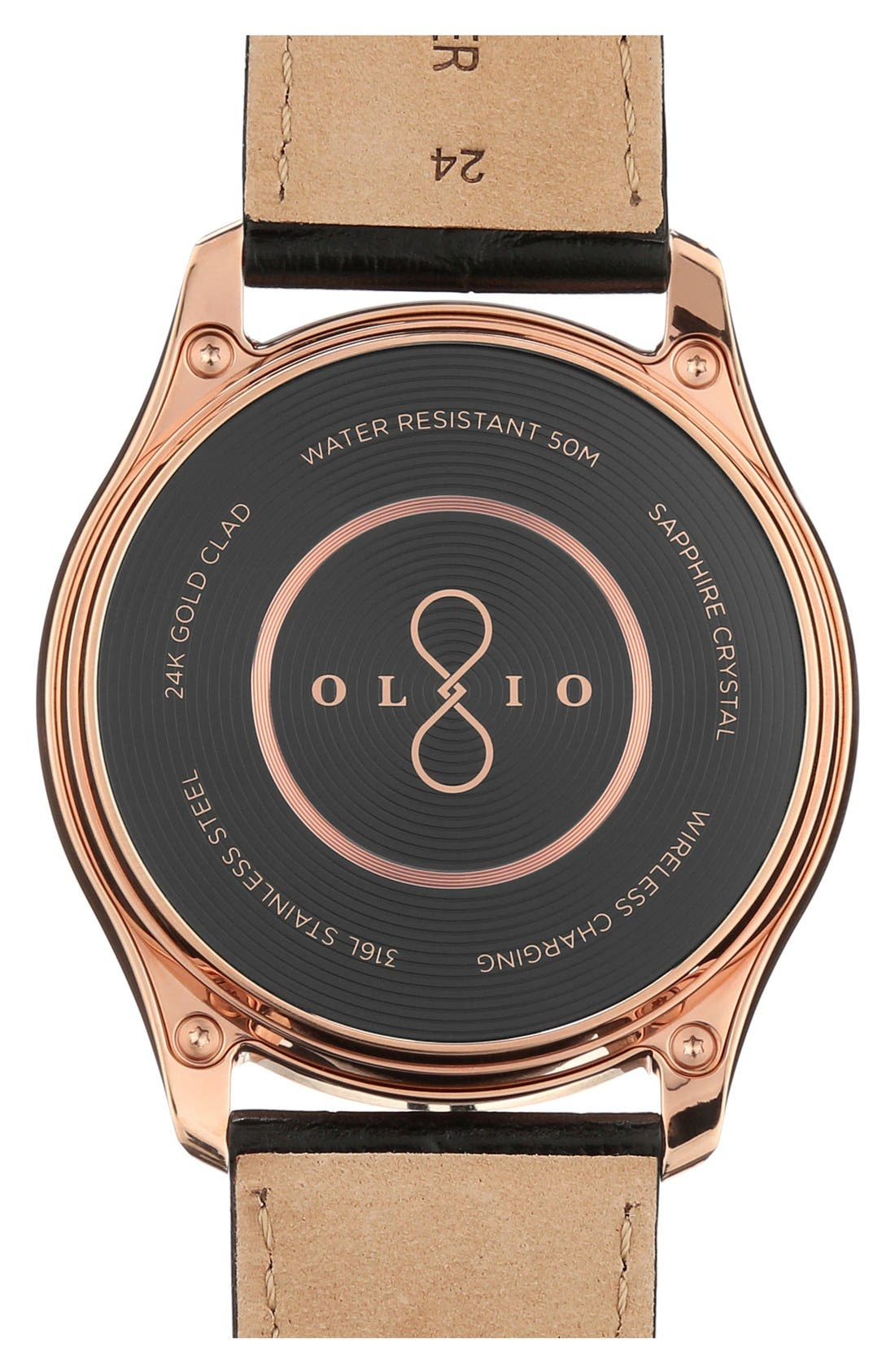 Alternate Image 3  - Olio Devices 'Model One Rose Gold' Leather Strap Smart Watch, 47mm