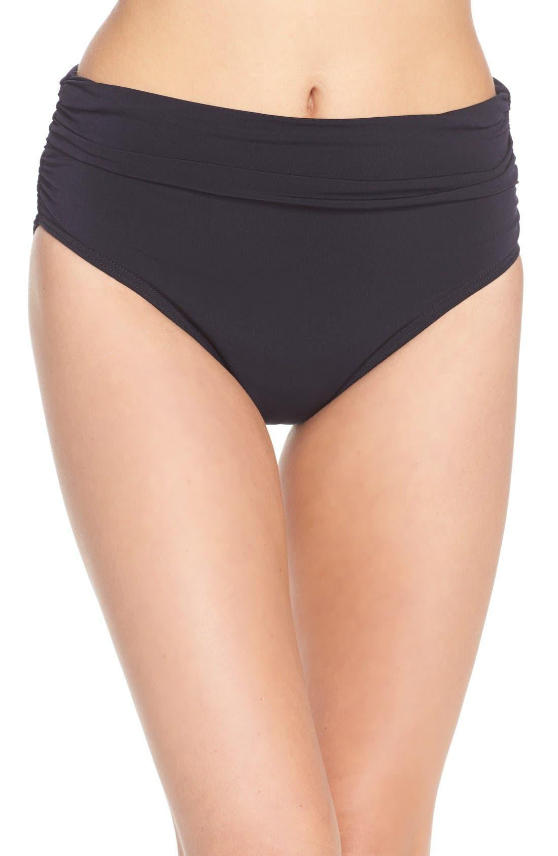 Ruched Bikini Bottoms,                         Main,                         color, Black Tones