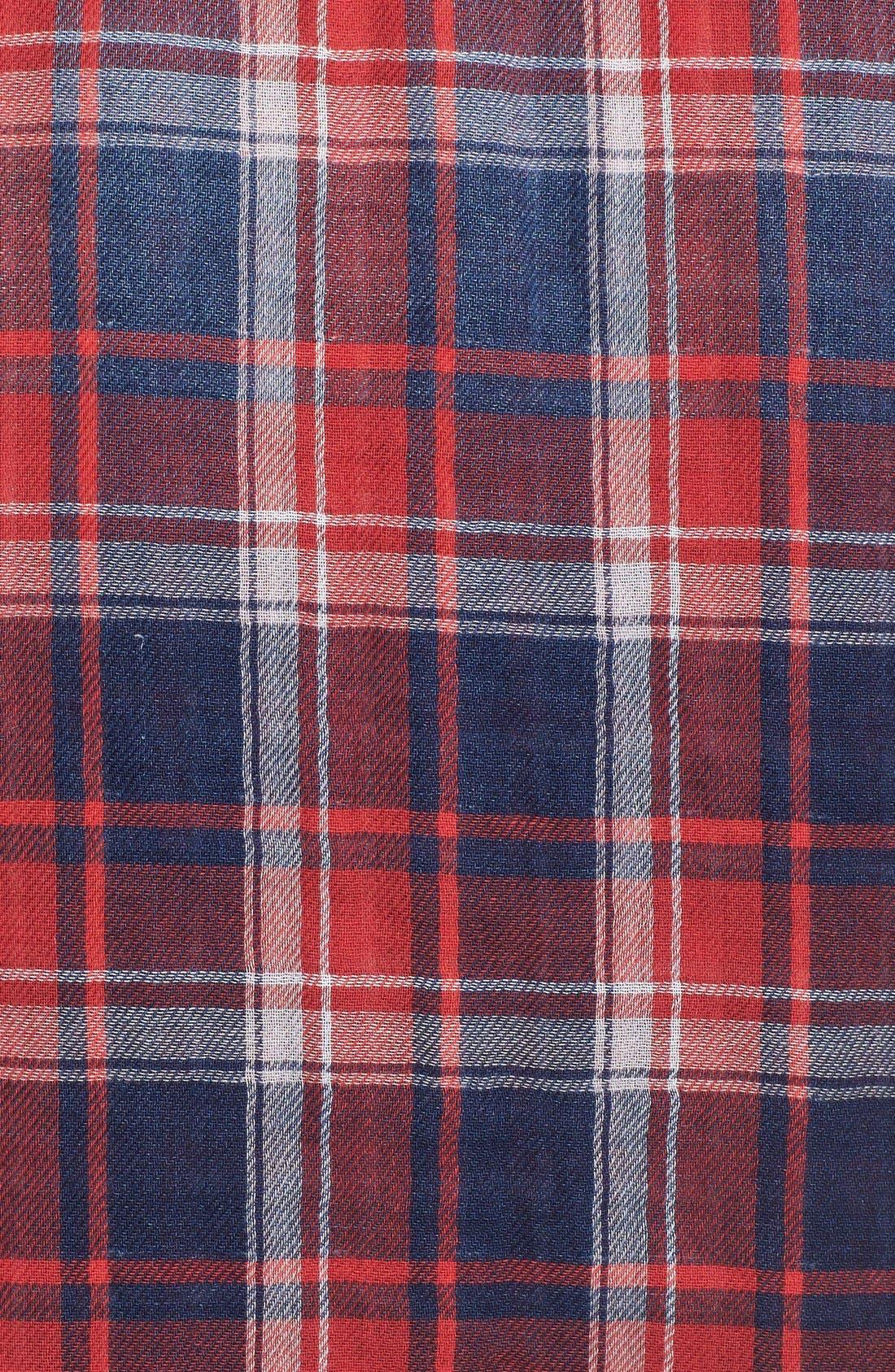 Treasure&Bond Classic Fit Plaid Shirt,                             Alternate thumbnail 5, color,                             Navy Indigo Red Tartan