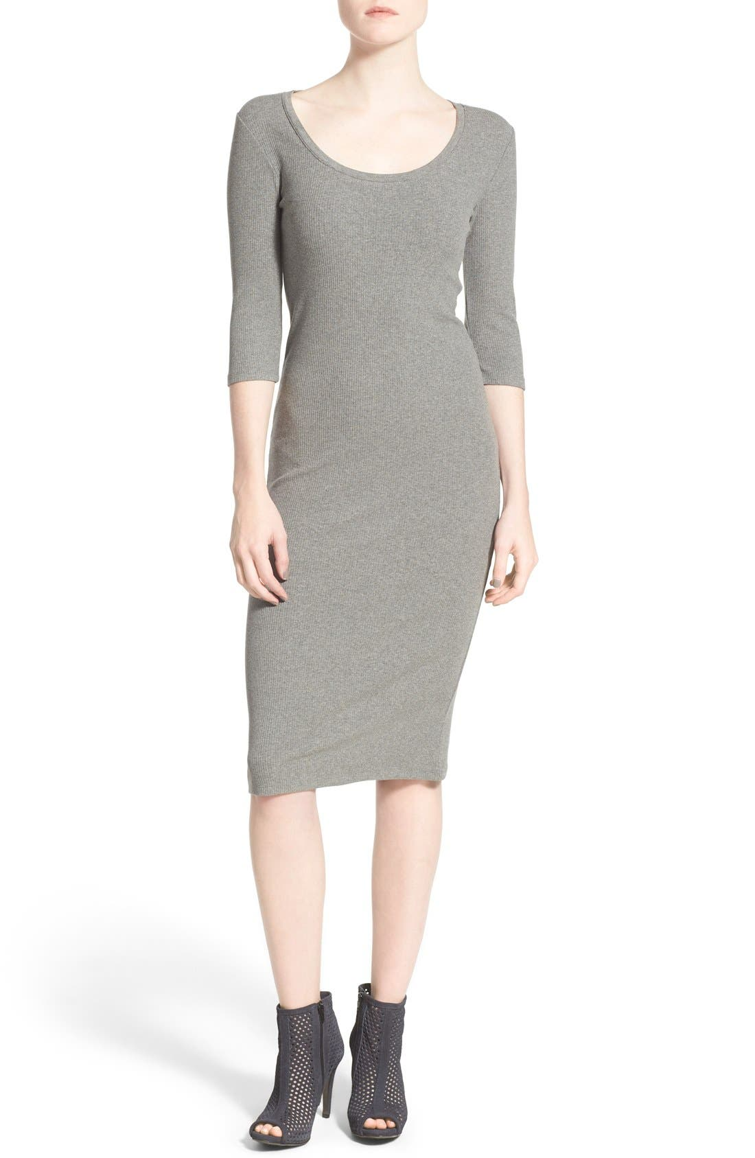 Scoop Neck T-Shirt Dress,                         Main,                         color, Grey Cloudy Heather