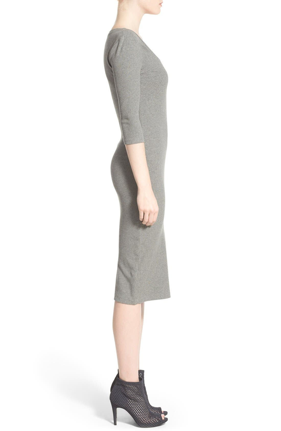 Scoop Neck T-Shirt Dress,                             Alternate thumbnail 3, color,                             Grey Cloudy Heather