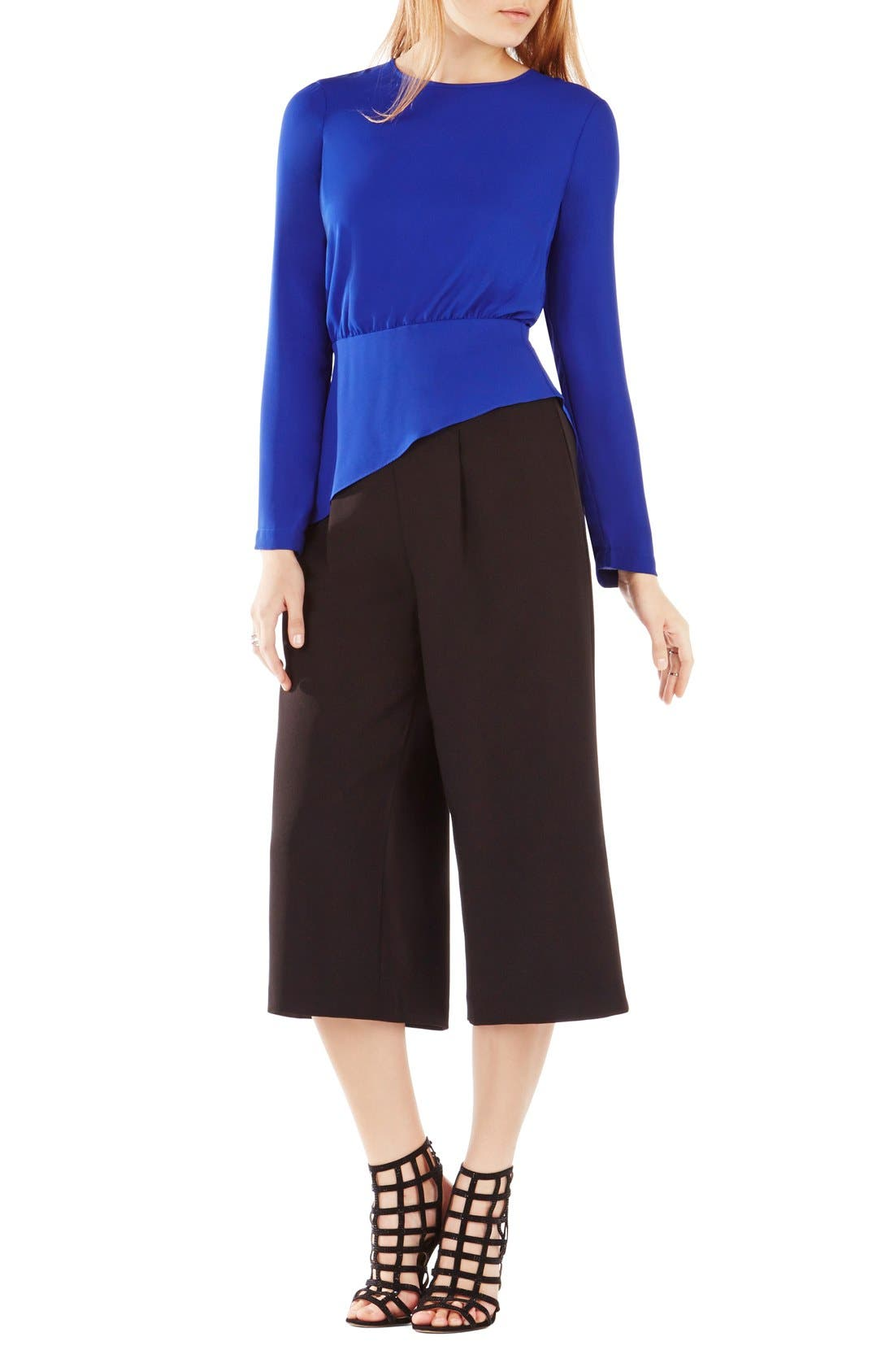 Alternate Image 1 Selected - BCBGMAXAZRIA 'Eugenie' Asymmetrical Peplum Georgette Blouse
