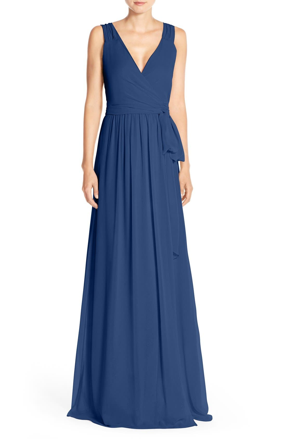 Newbury Gathered Sleeve Chiffon Wrap Gown,                         Main,                         color, Tangled Up In Blue
