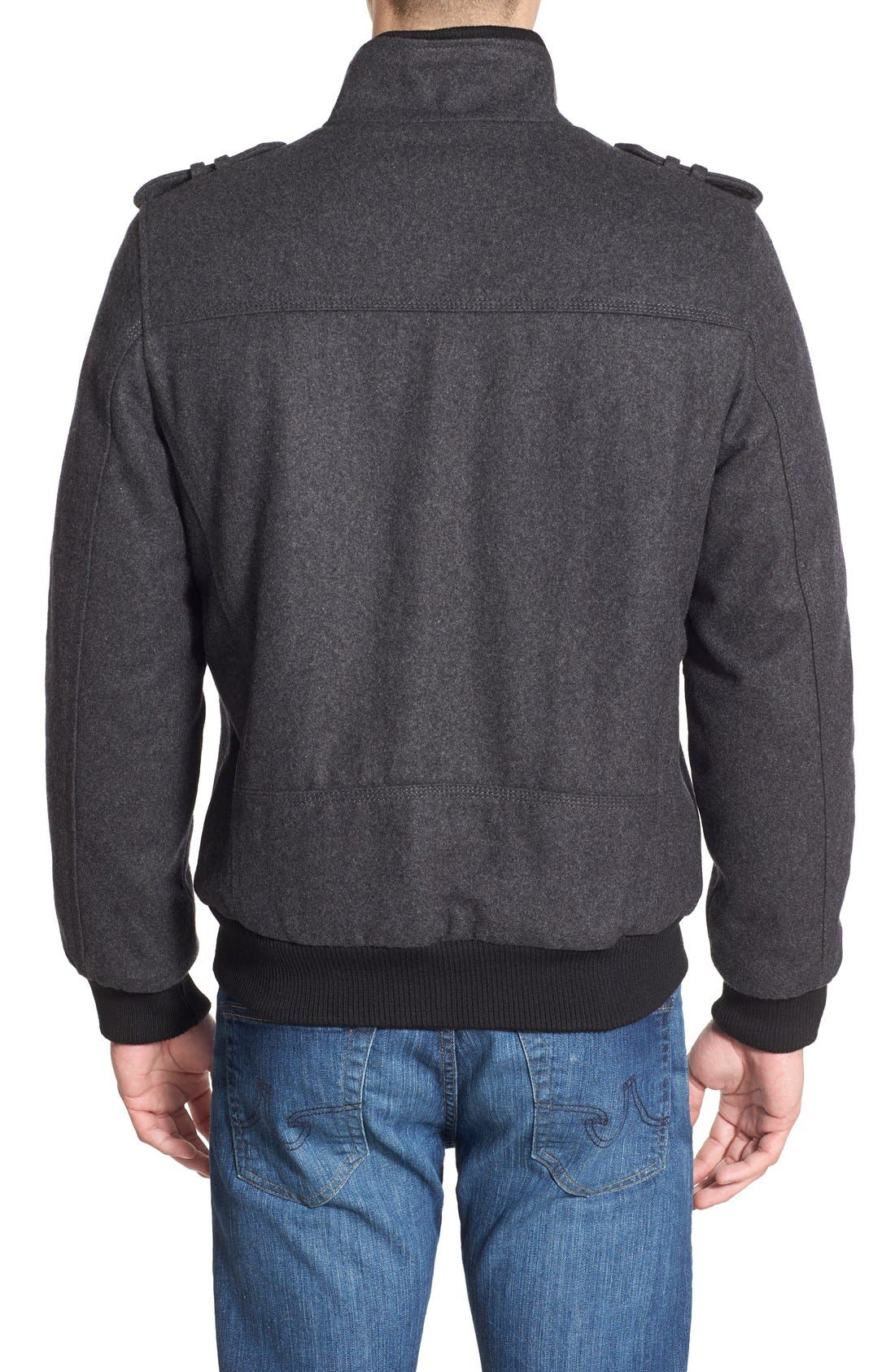 Wool Blend Bomber Jacket,                             Alternate thumbnail 2, color,                             Charcoal