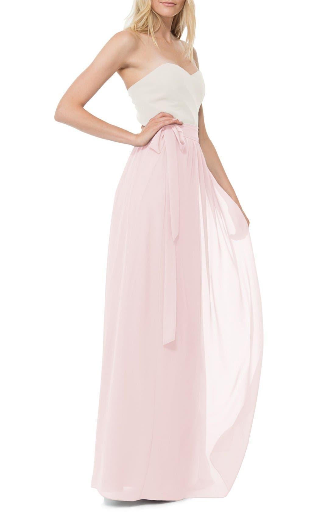CEREMONY BY JOANNA AUGUST Whitney Chiffon Wrap Maxi Skirt