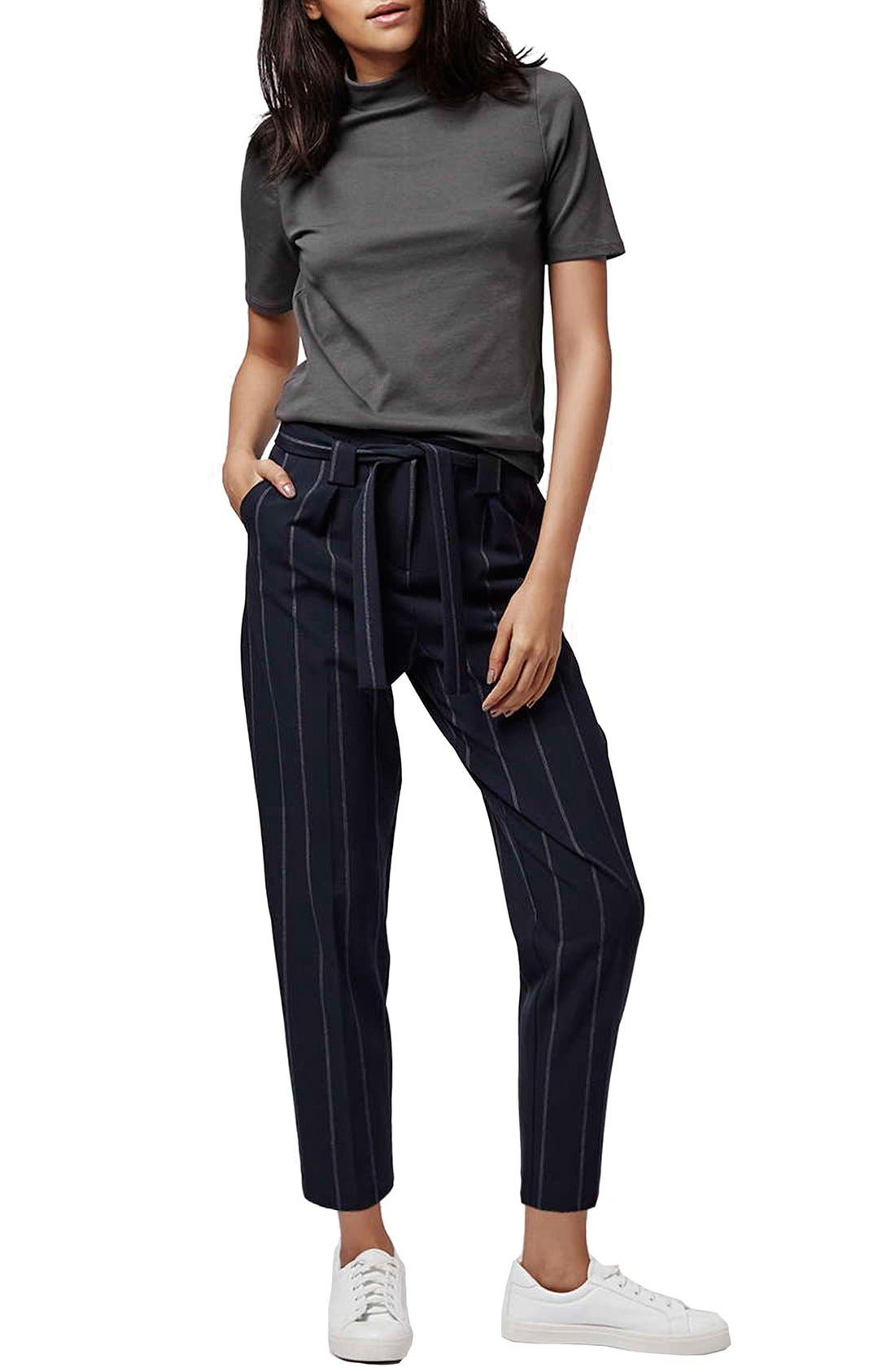 Alternate Image 2  - Topshop Belted Pinstripe Pants (Regular & Petite)