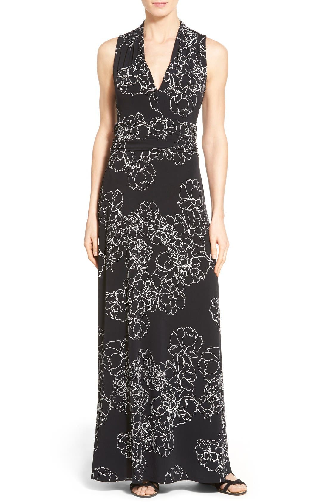 Floral Print Jersey Maxi Dress,                             Main thumbnail 1, color,                             Rich Black