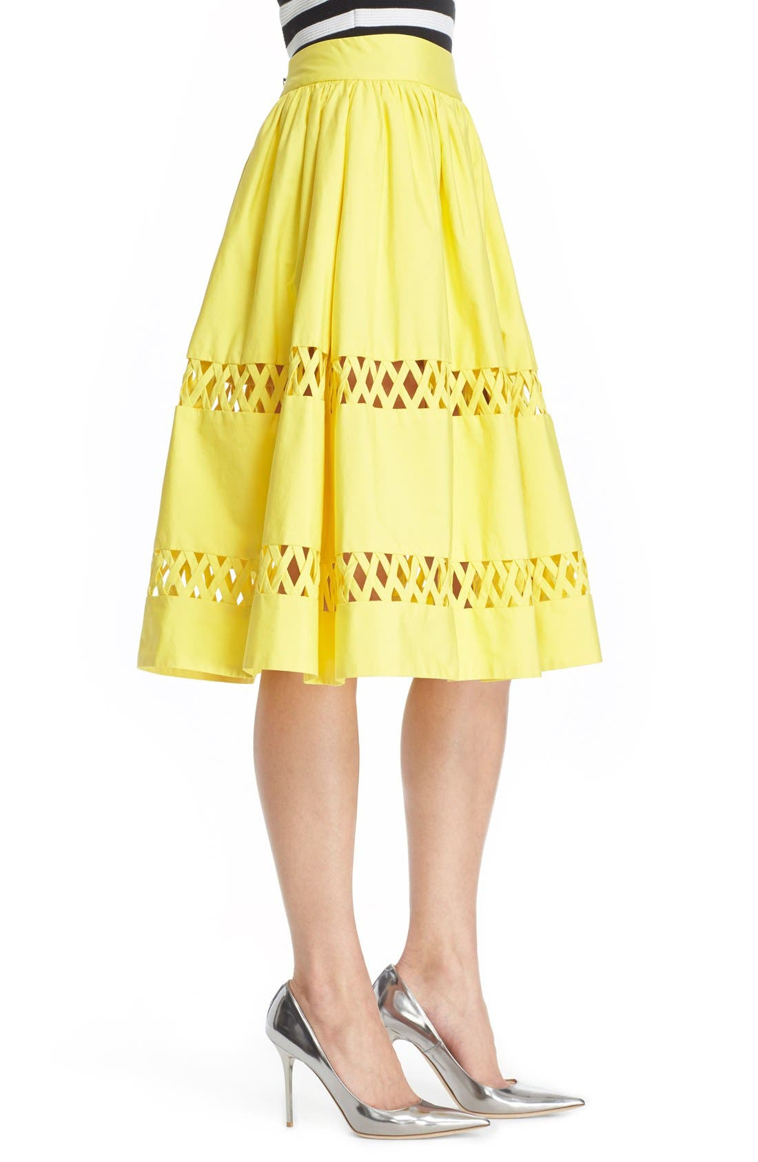 Alternate Image 3  - Alice + Olivia 'Morina' Lattice Trim Cotton Skirt