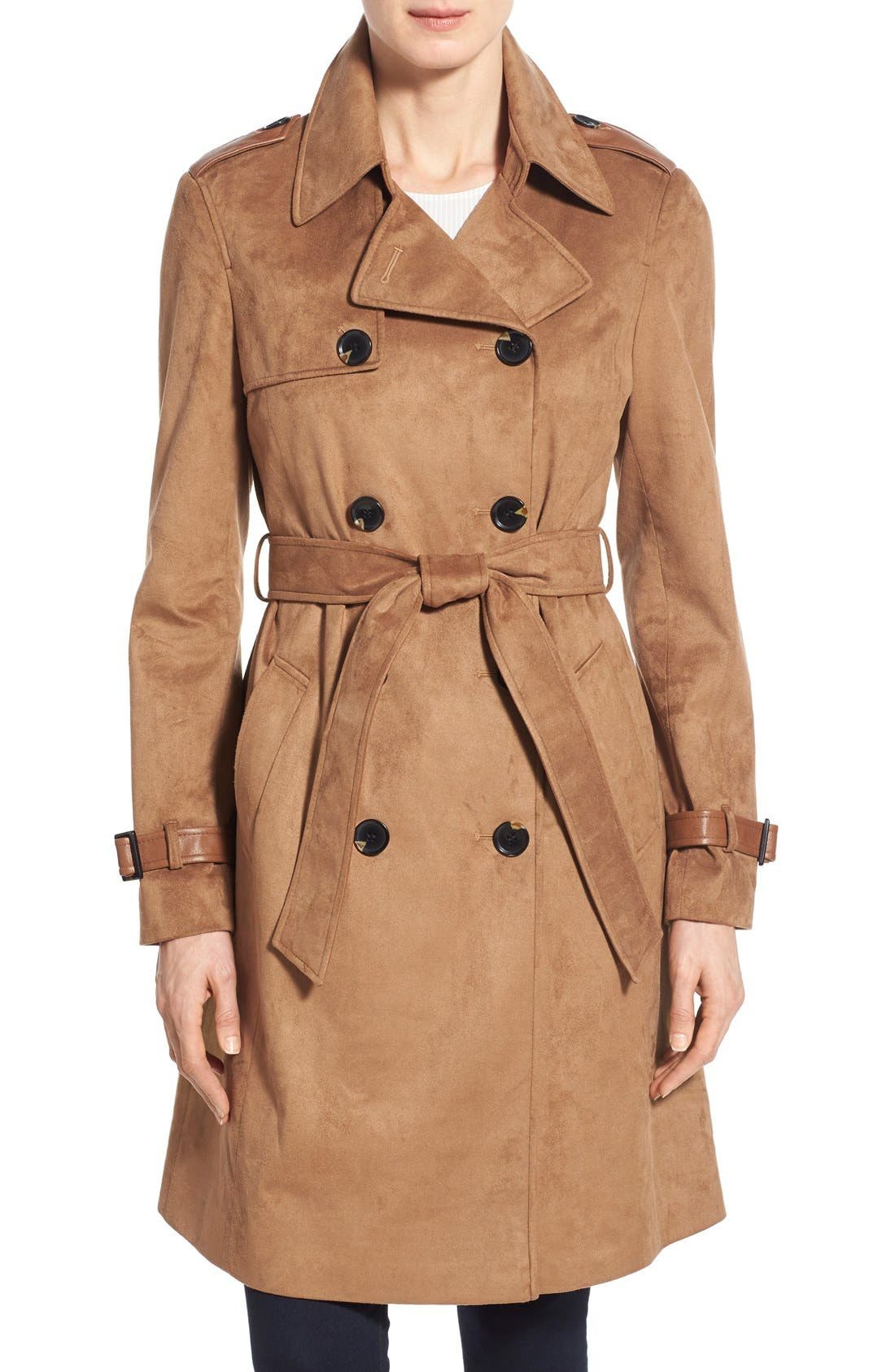 Main Image - Via Spiga Double Breasted Faux Suede Trench Coat