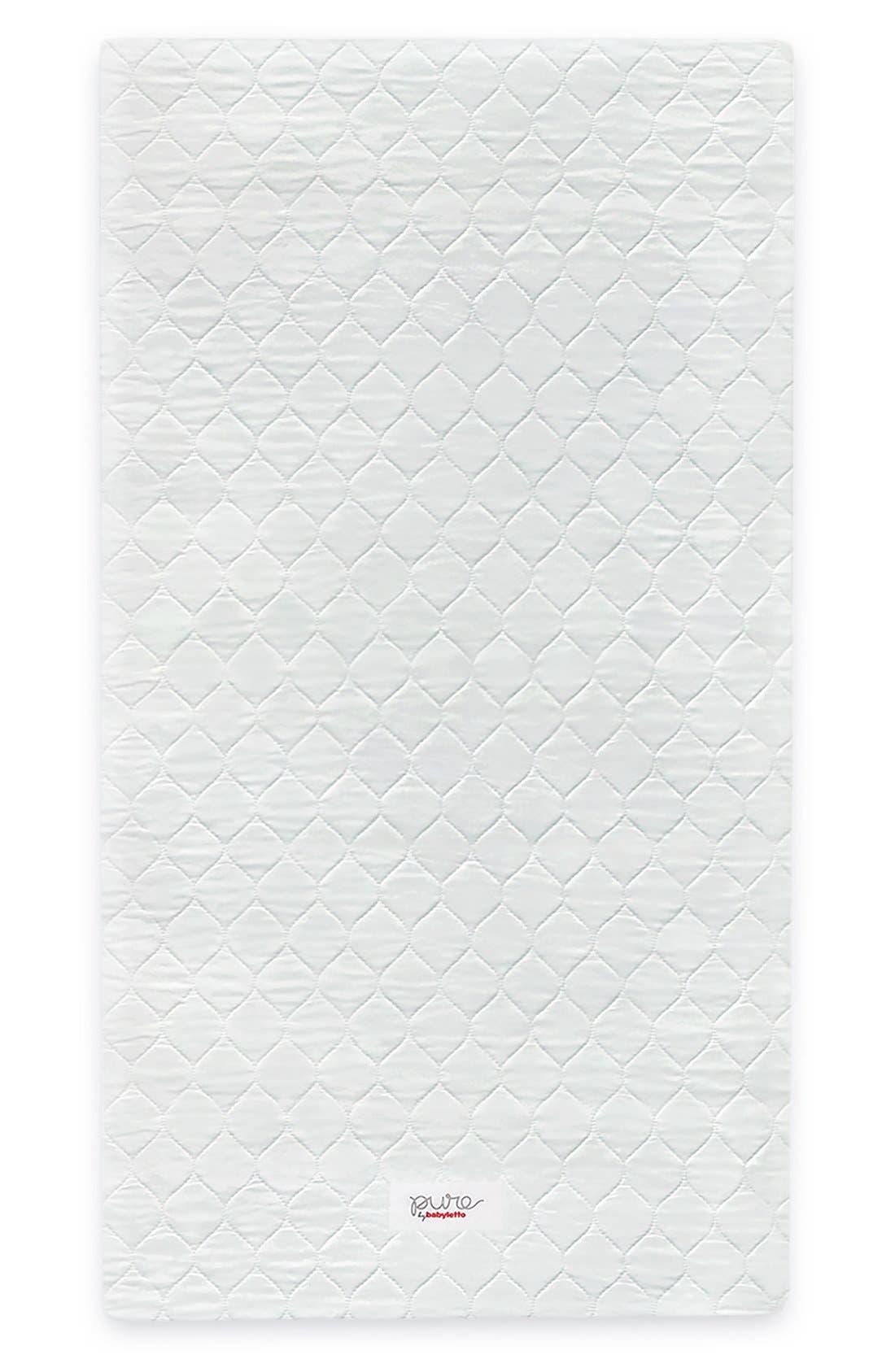 Pure Core Nontoxic Mini Crib Mattress & Hybrid Cover,                             Main thumbnail 1, color,                             White