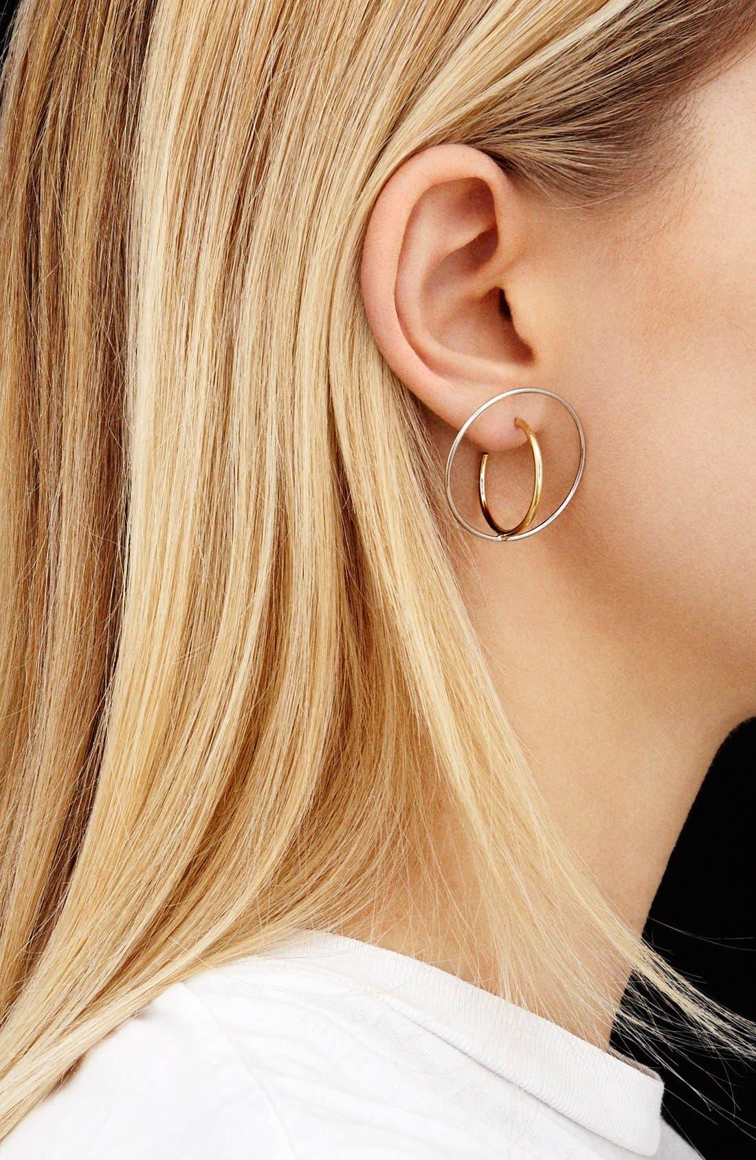 'Saturne' Earrings,                             Alternate thumbnail 2, color,                             Vermeil/ Argent