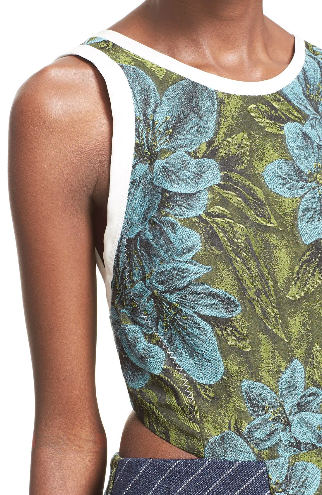 Side Cutout Ruffle Floral Jacquard Dress,                             Alternate thumbnail 4, color,                             Leaf