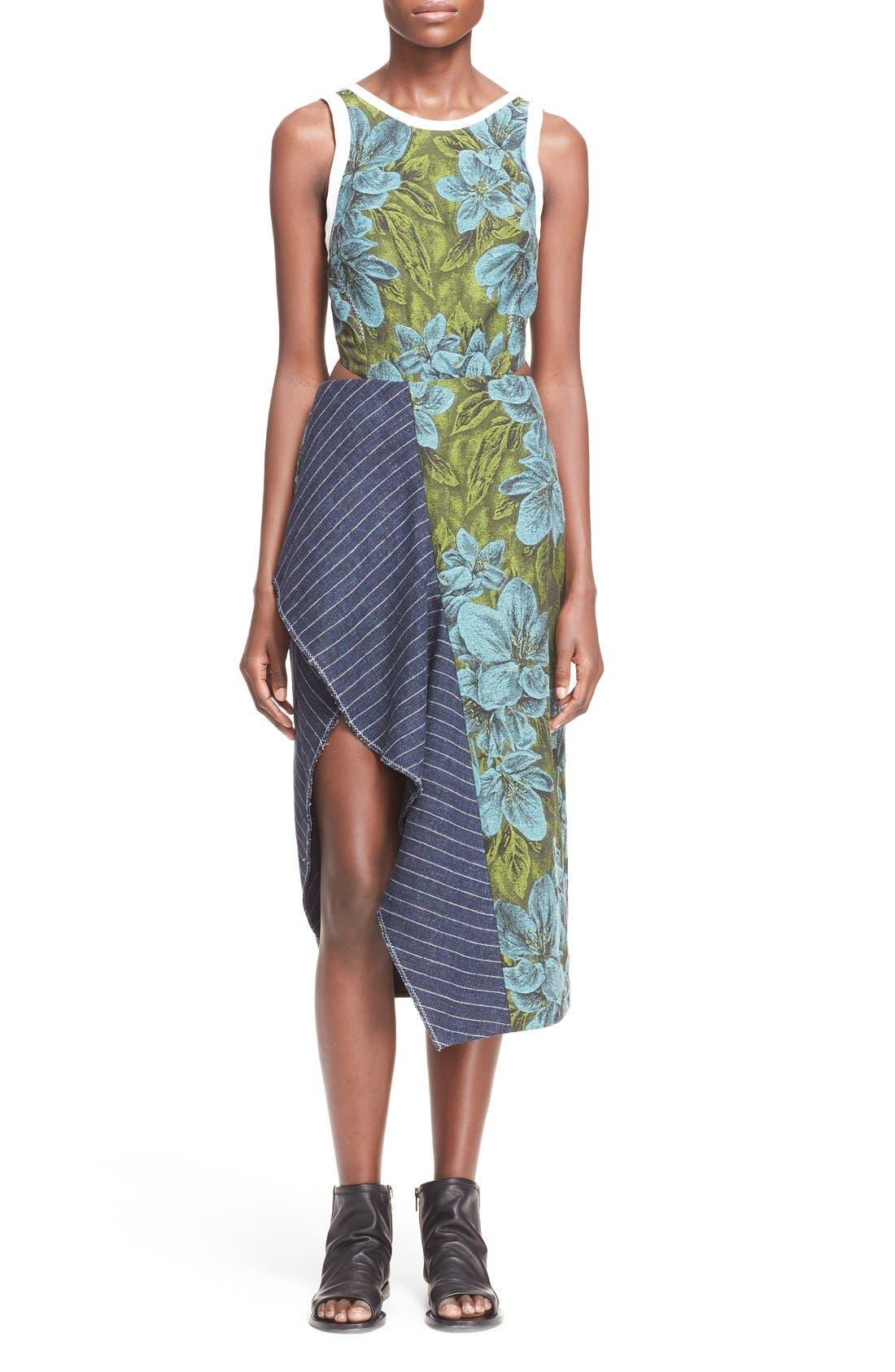 Side Cutout Ruffle Floral Jacquard Dress,                         Main,                         color, Leaf