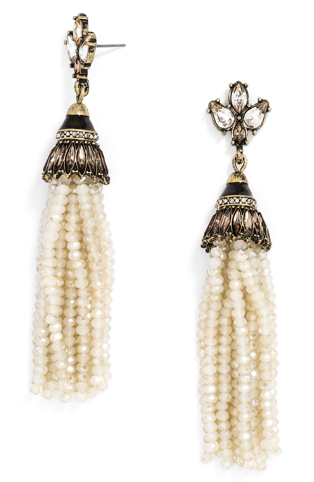 'Tinsel' Tassel Drop Earrings,                             Main thumbnail 1, color,                             Cream