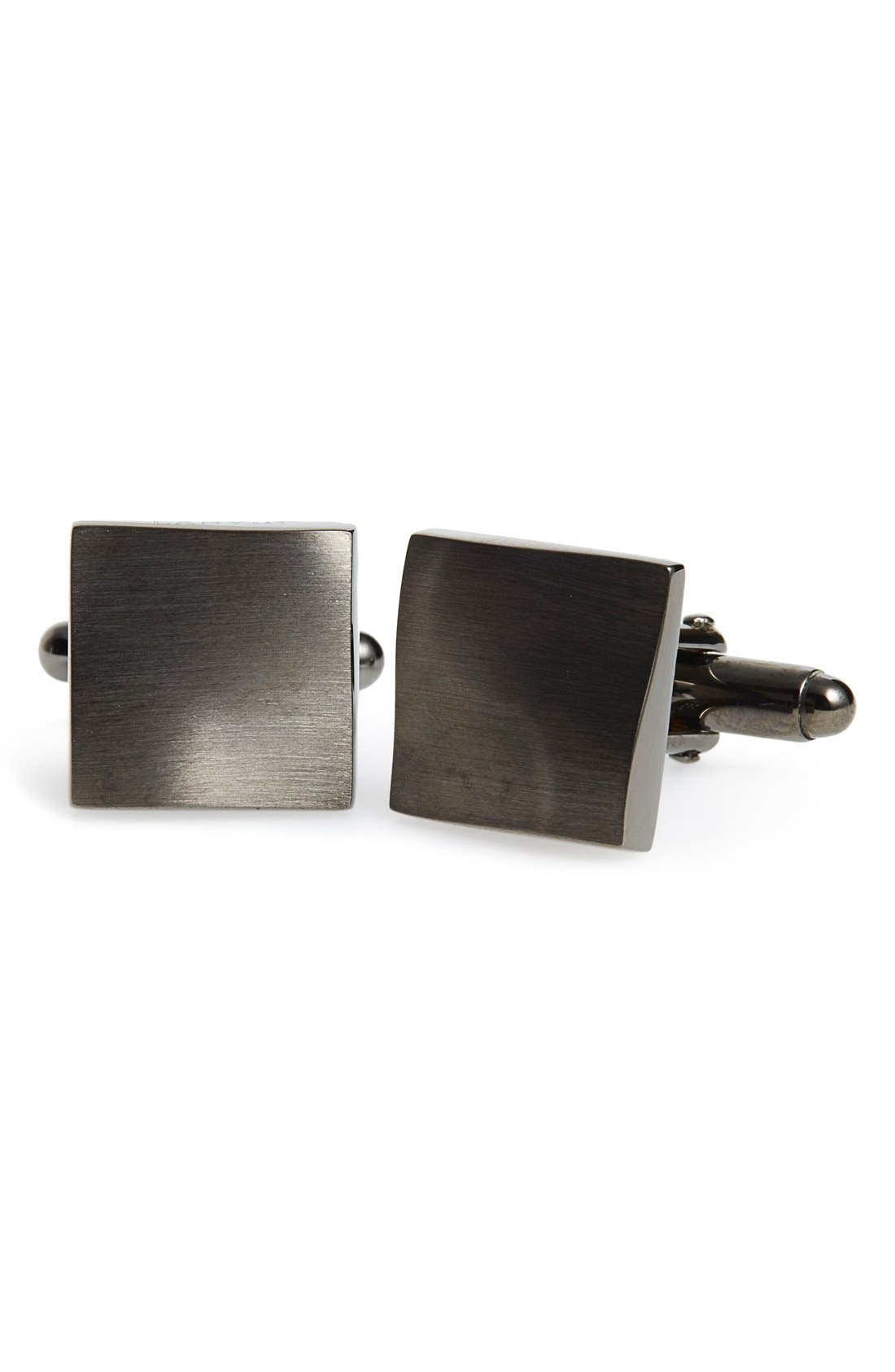 'Twisted Plaque' Square Cuff Links,                             Main thumbnail 1, color,                             Gunmetal