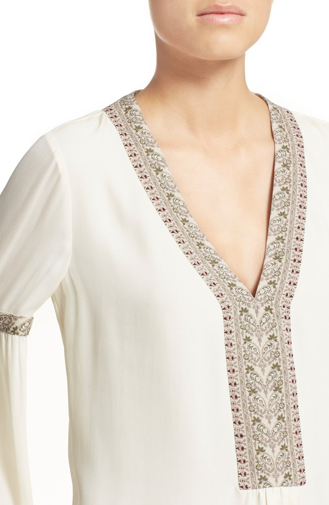 Alternate Image 4  - Tory Burch V-Neck Silk Peasant Top