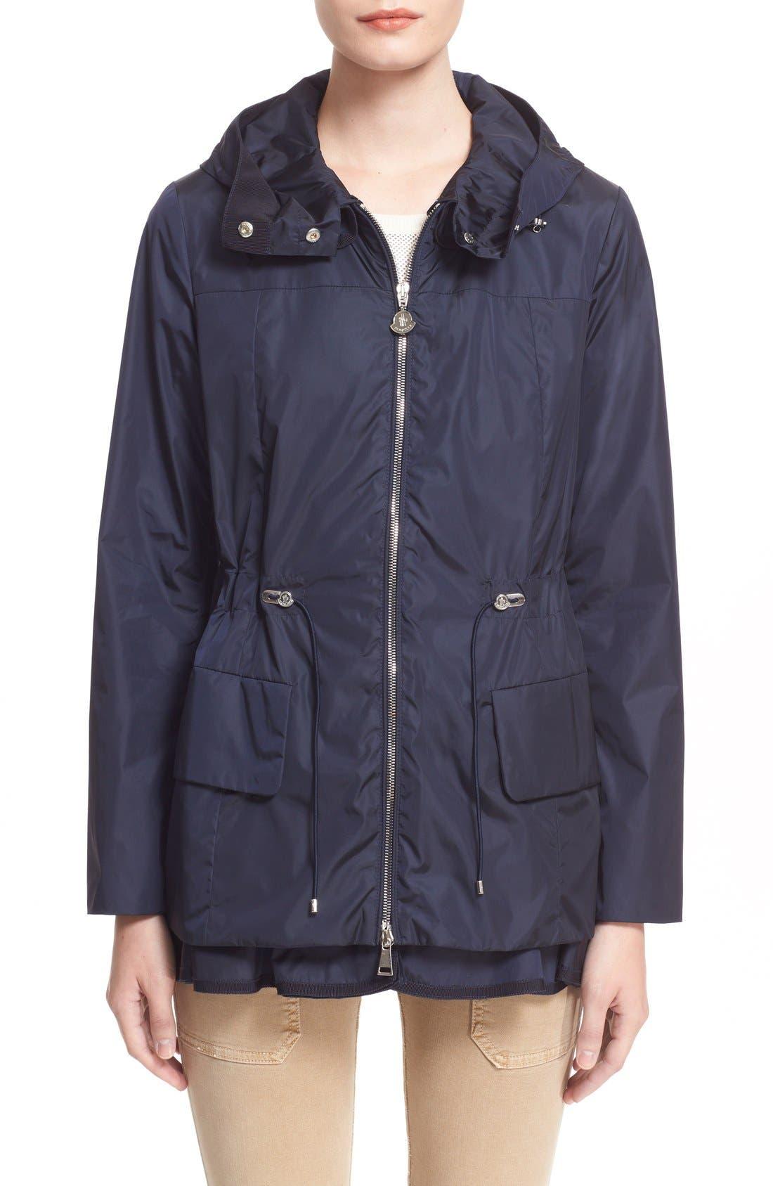 Main Image - Moncler 'Limbert' Water Resistant Peplum Hem Hooded Rain Jacket