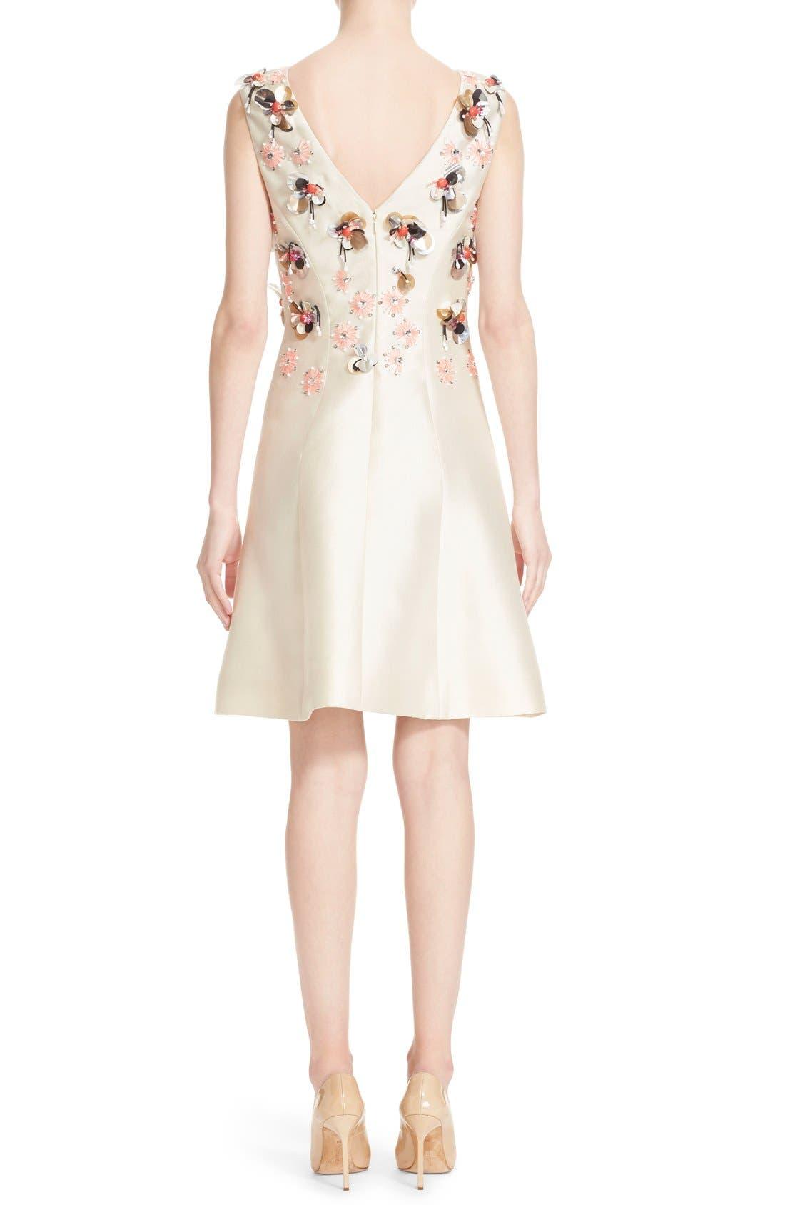 Alternate Image 2  - Lela Rose Embellished Wool & Silk A-Line Dress