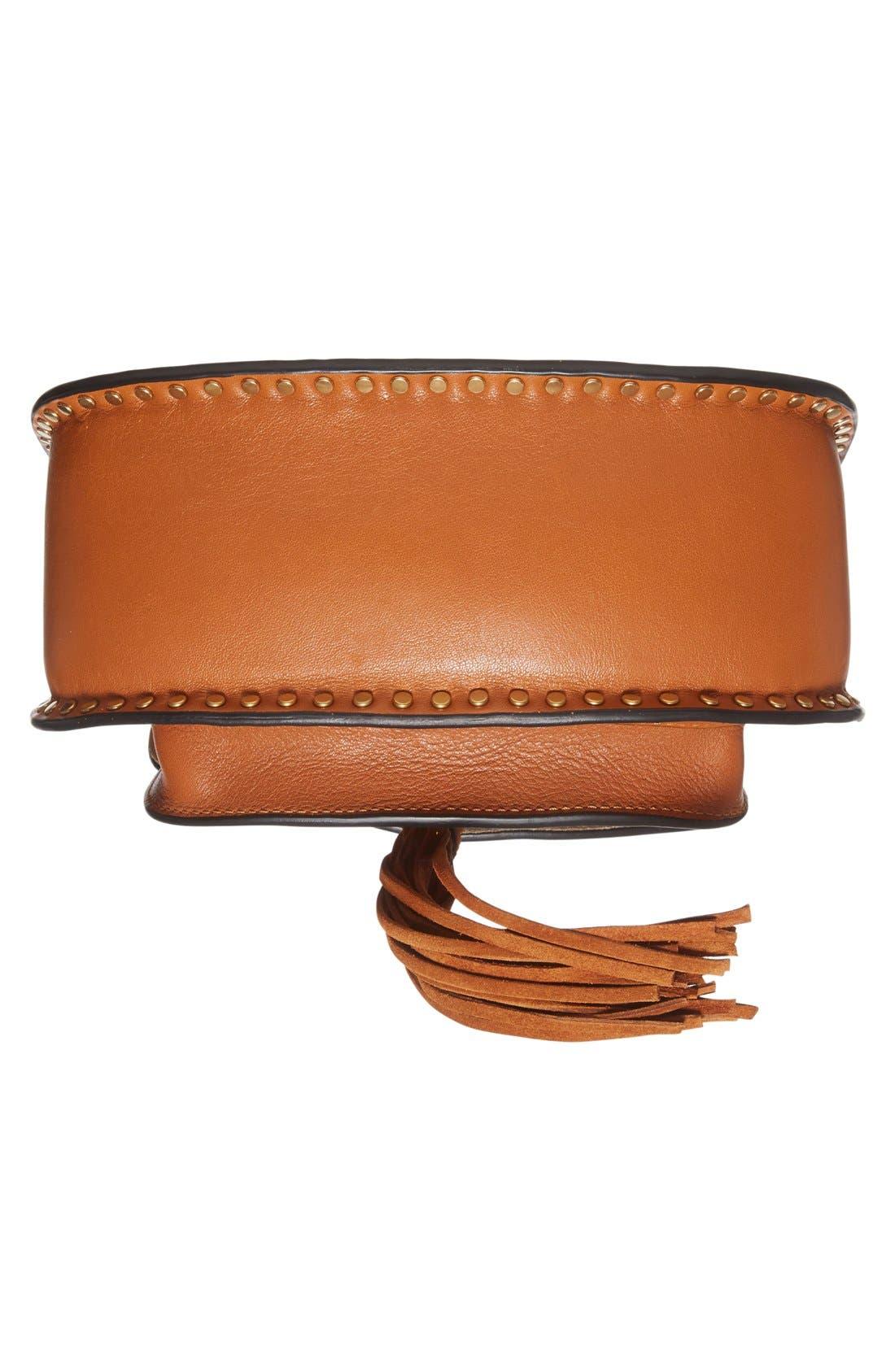 'Small Hudson' Studded Calfskin Leather Crossbody Bag,                             Alternate thumbnail 5, color,                             Caramel