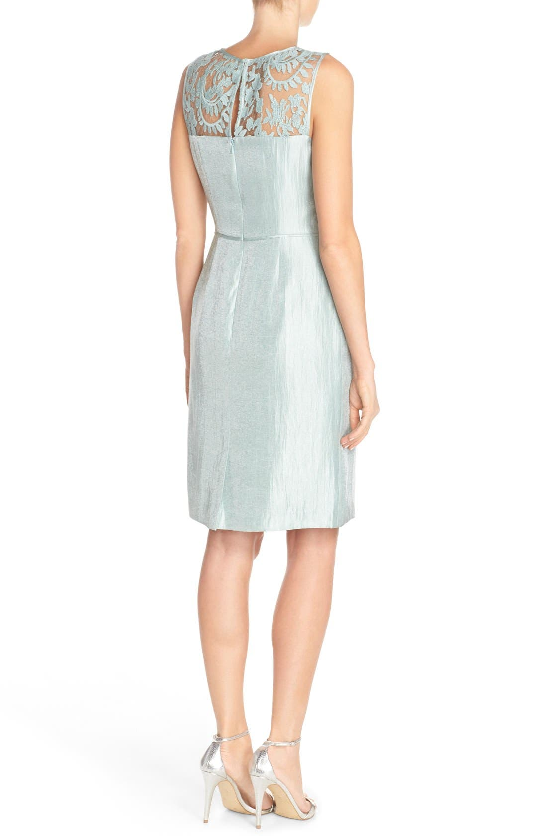 Embroidered Lace Illusion Yoke Sheath Dress &Topper,                             Alternate thumbnail 2, color,                             Icy Mint