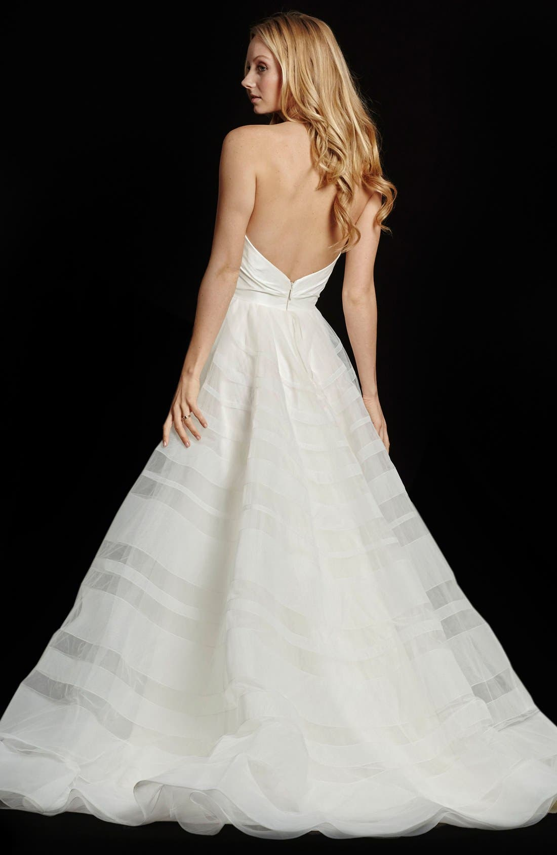 Alternate Image 2  - Hayley Paige Lily Strapless Taffeta & Tulle Stripe Skirt Ballgown
