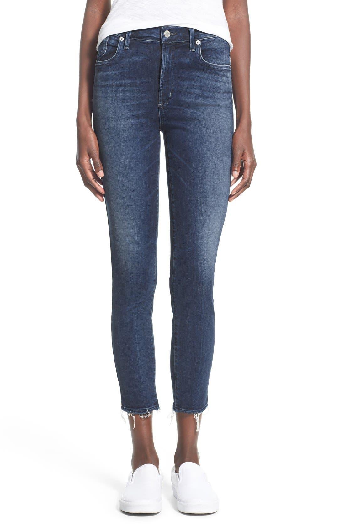A Gold E 'Sophie' Crop Jeans,                             Main thumbnail 1, color,                             Claremont (Med Wash)