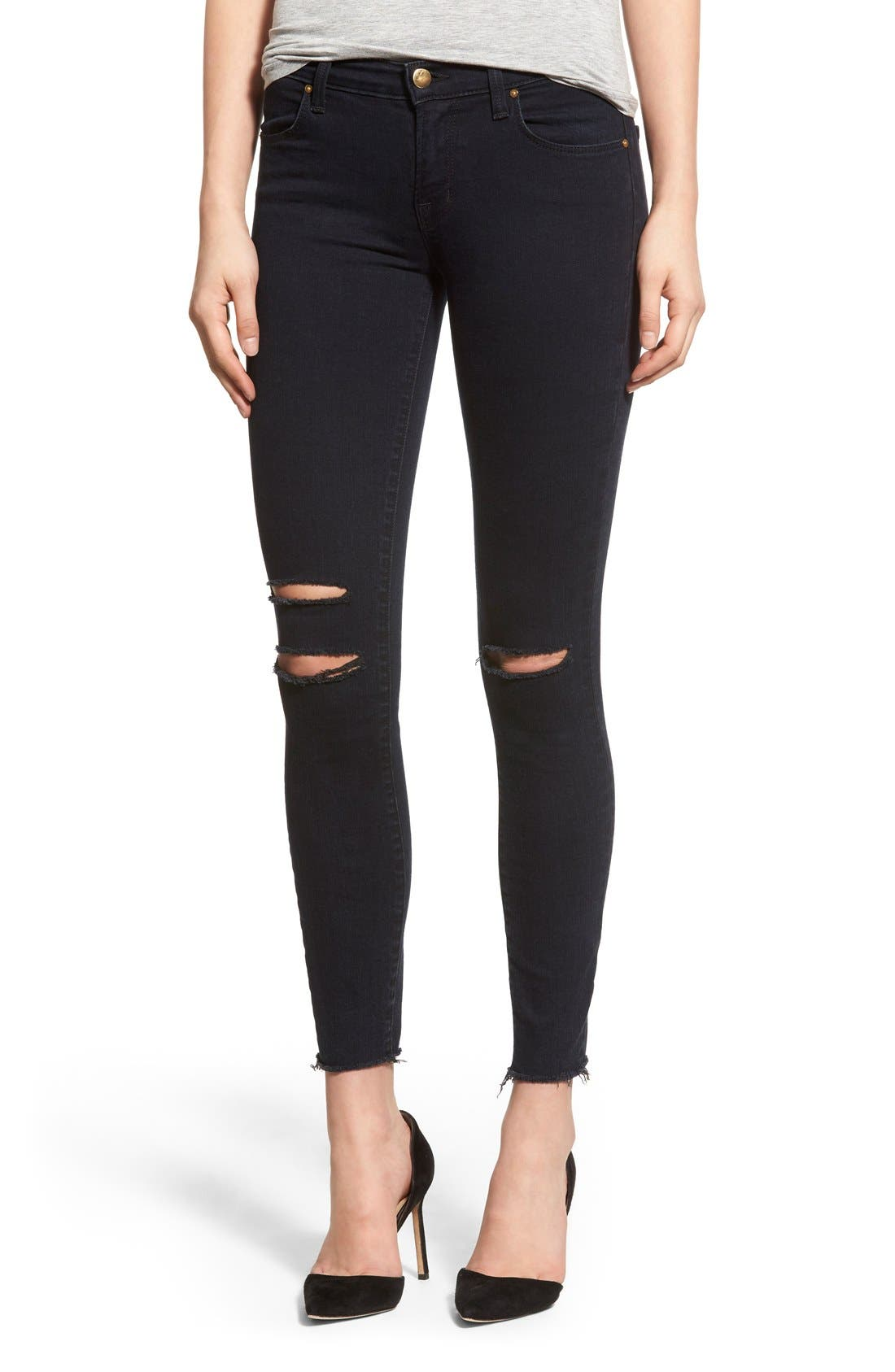 Alternate Image 1 Selected - J Brand Destroyed Crop Skinny Jeans (Blue Mercy)