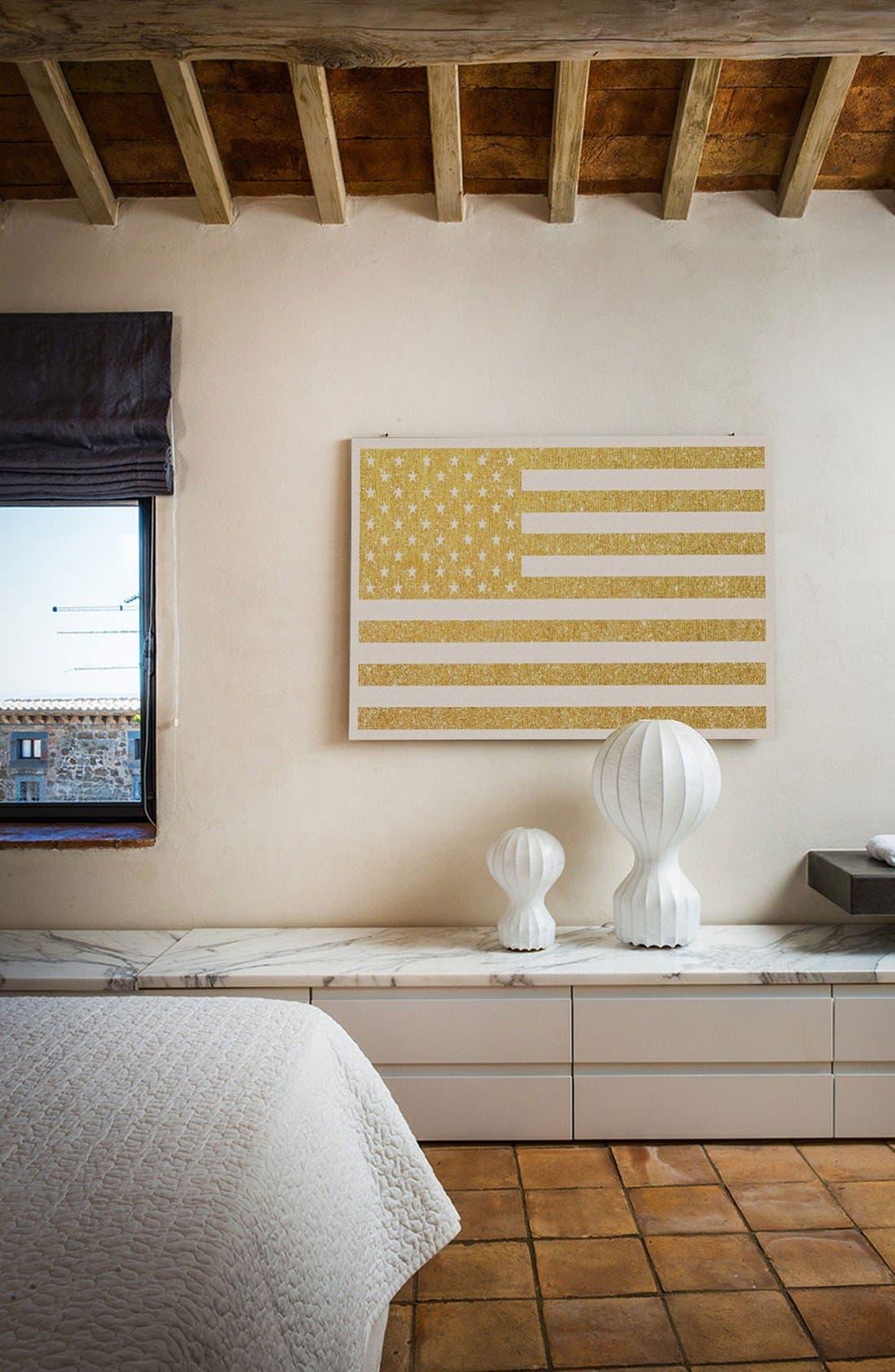 Alternate Image 2  - iCanvas 'Gold Flag III' Giclée Print Canvas Art