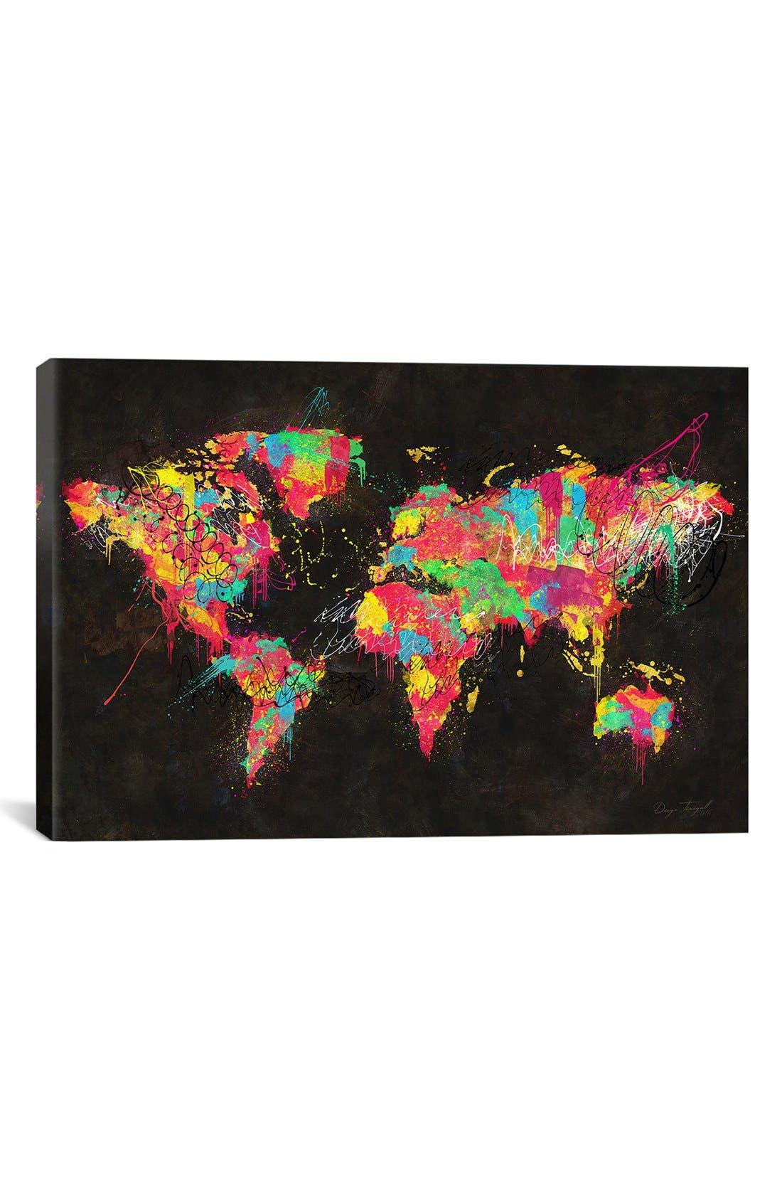 'Continents' Giclée Print Canvas Art,                         Main,                         color, Black