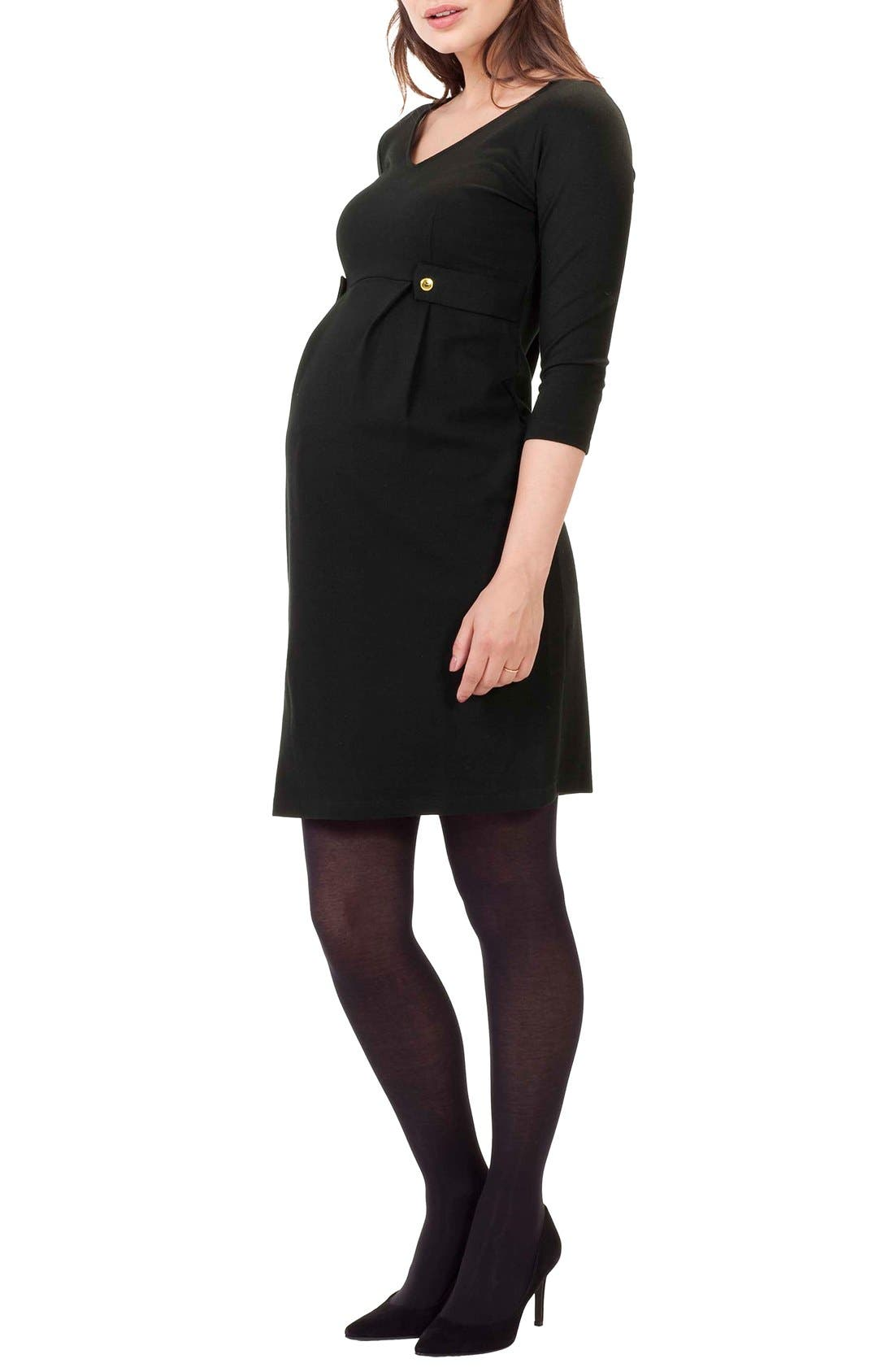 Marlow Maternity Dress,                             Main thumbnail 1, color,                             Caviar Black