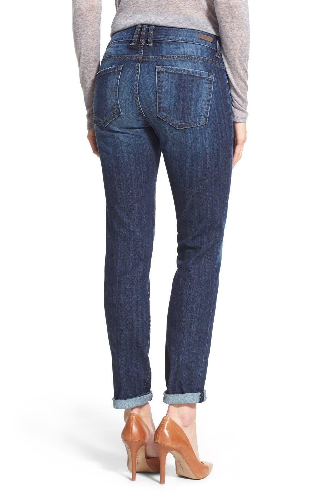 'Catherine' Stretch Boyfriend Jeans,                             Alternate thumbnail 3, color,                             Goal