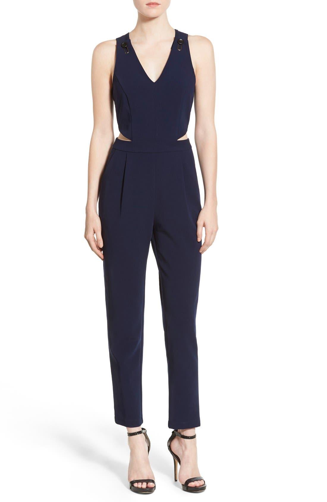 Cutout Jumpsuit,                         Main,                         color, Navy