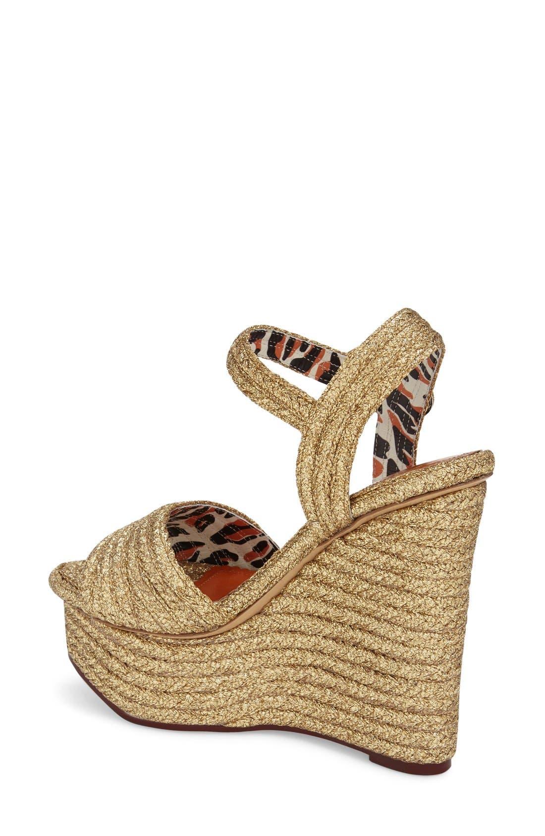'Karen' Platform Wedge Sandal,                             Alternate thumbnail 2, color,                             Gold Raffia