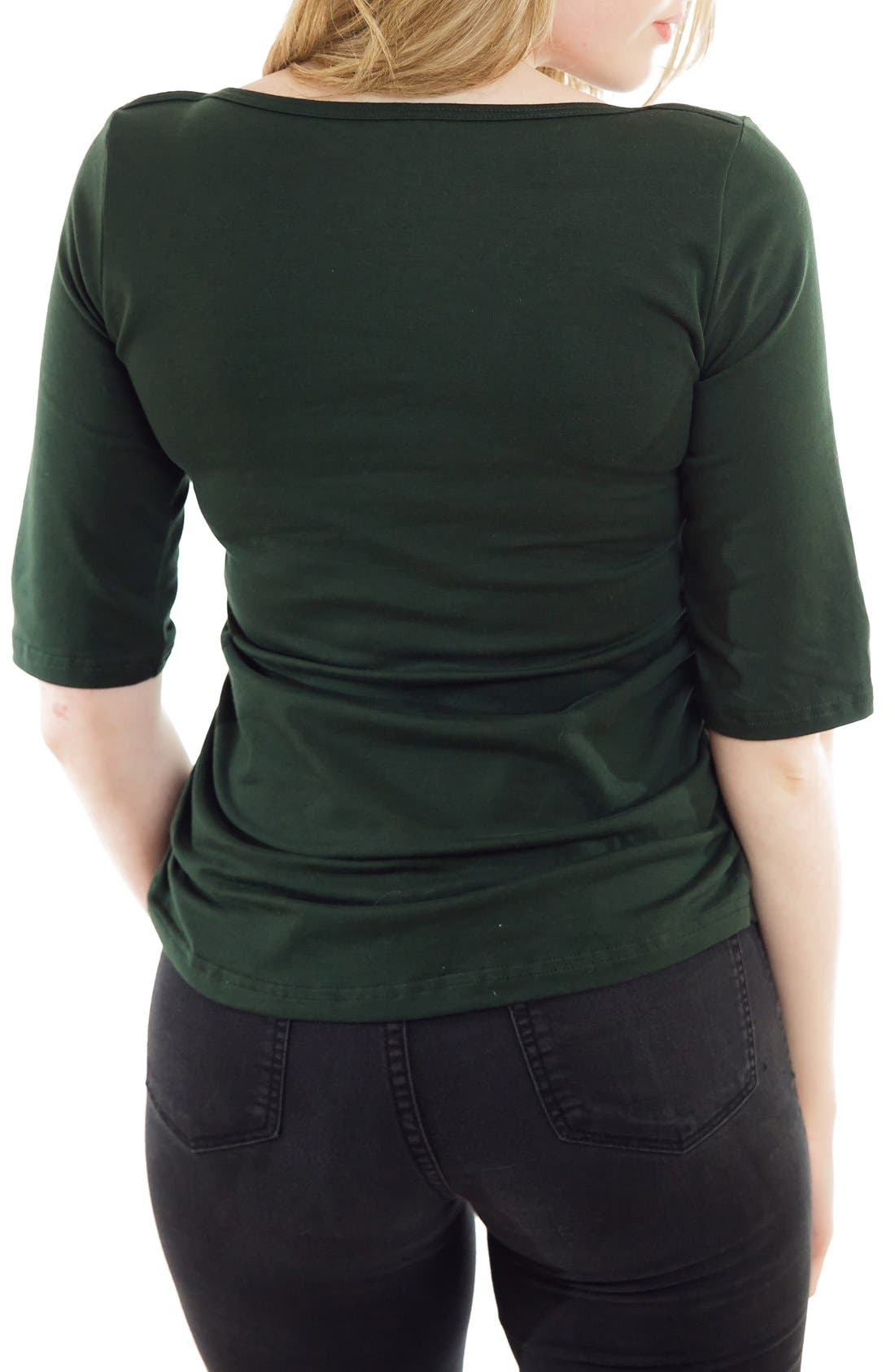 Boatneck Nursing Top,                             Alternate thumbnail 2, color,                             Green Forest