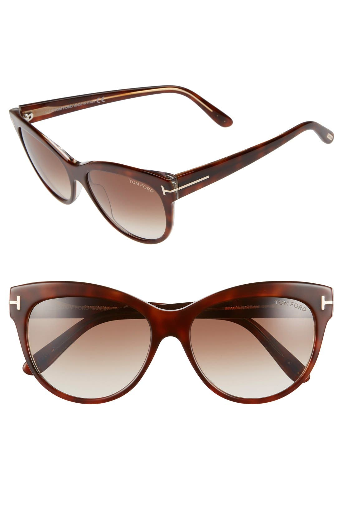 'Lily' 56mm Cat Eye Sunglasses,                             Main thumbnail 1, color,                             Havana/ Gradient Brown
