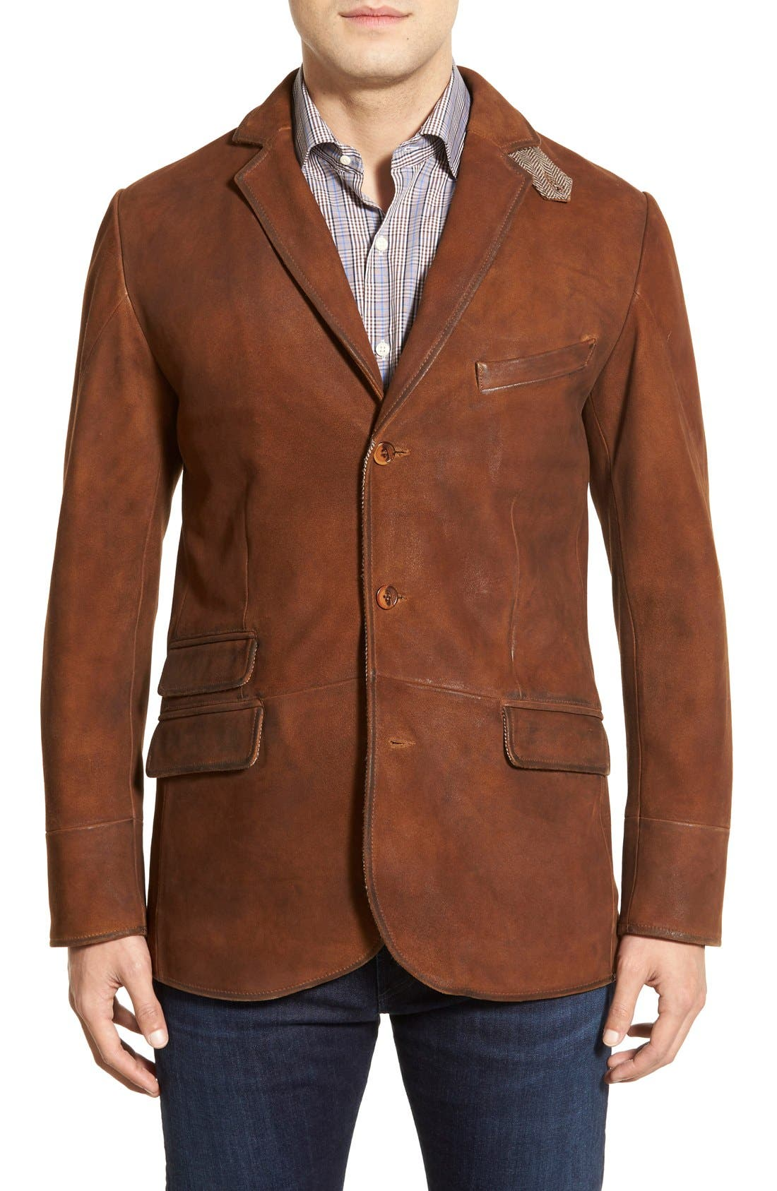 Classic Fit Distressed Leather Hybrid Coat,                             Alternate thumbnail 5, color,                             Brown