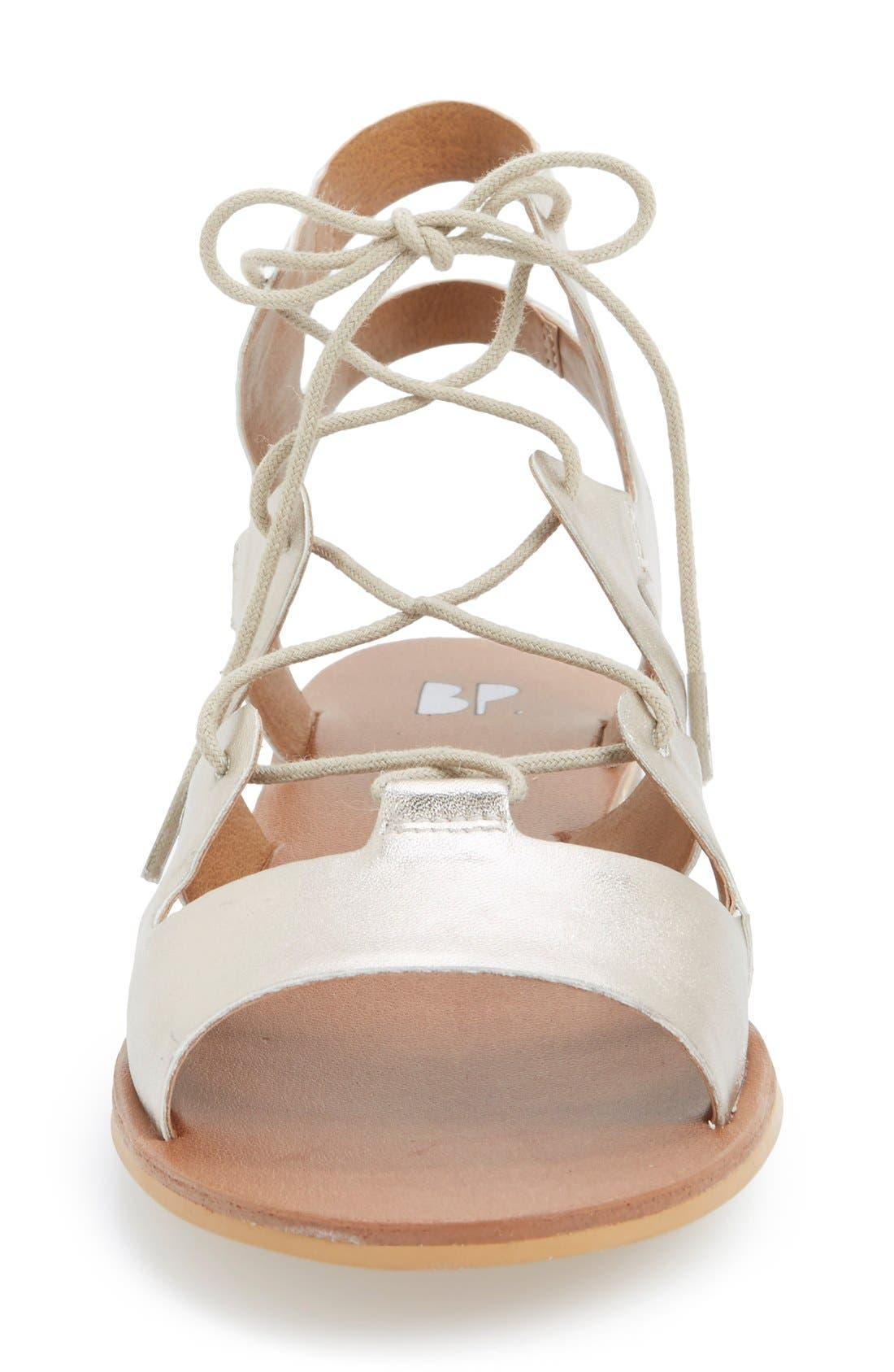 'Alyona' Lace-Up Gladiator Sandal,                             Alternate thumbnail 3, color,                             Platinum Faux Leather