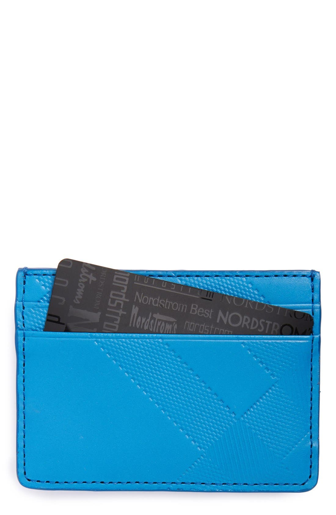 Embossed Check Card Case,                         Main,                         color, Blue Azure