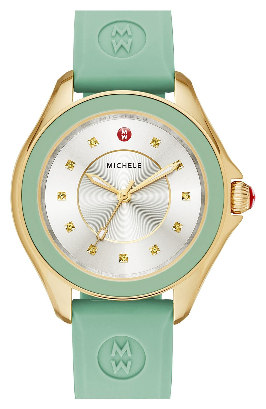 Alternate Image 1 Selected - MICHELE Cape Topaz Dial Silicone Strap Watch, 40mm