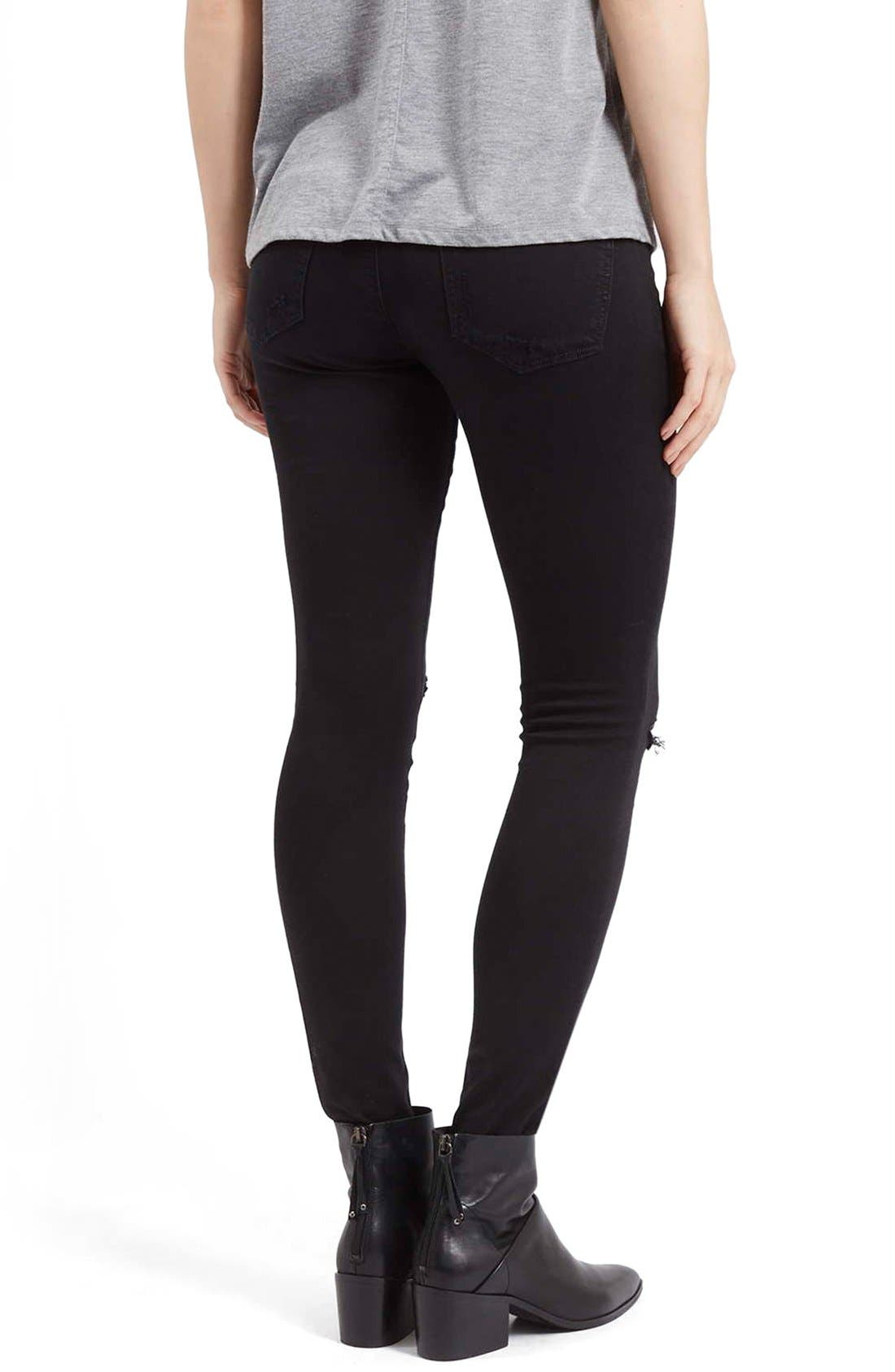 Alternate Image 3  - Topshop Moto 'Leigh' Ripped Skinny Jeans (Black)