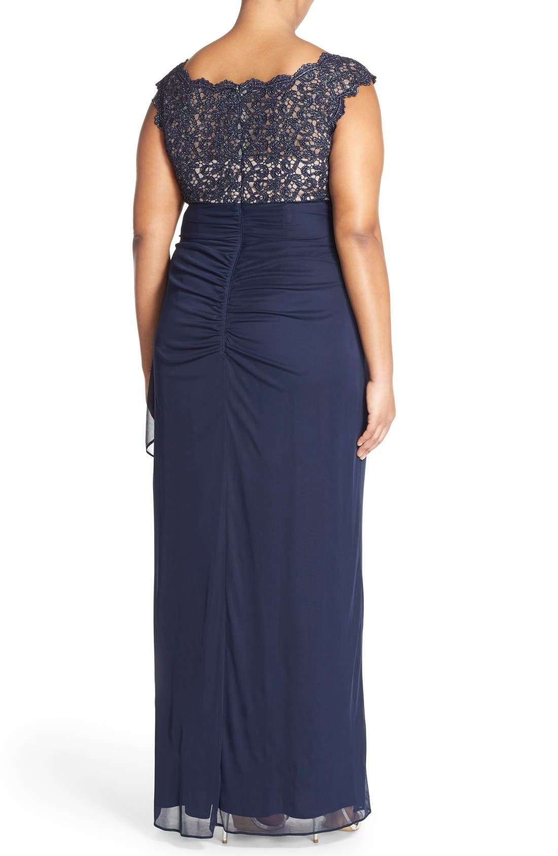 Alternate Image 2  - Xscape Lace Bodice Empire Gown (Plus Size)
